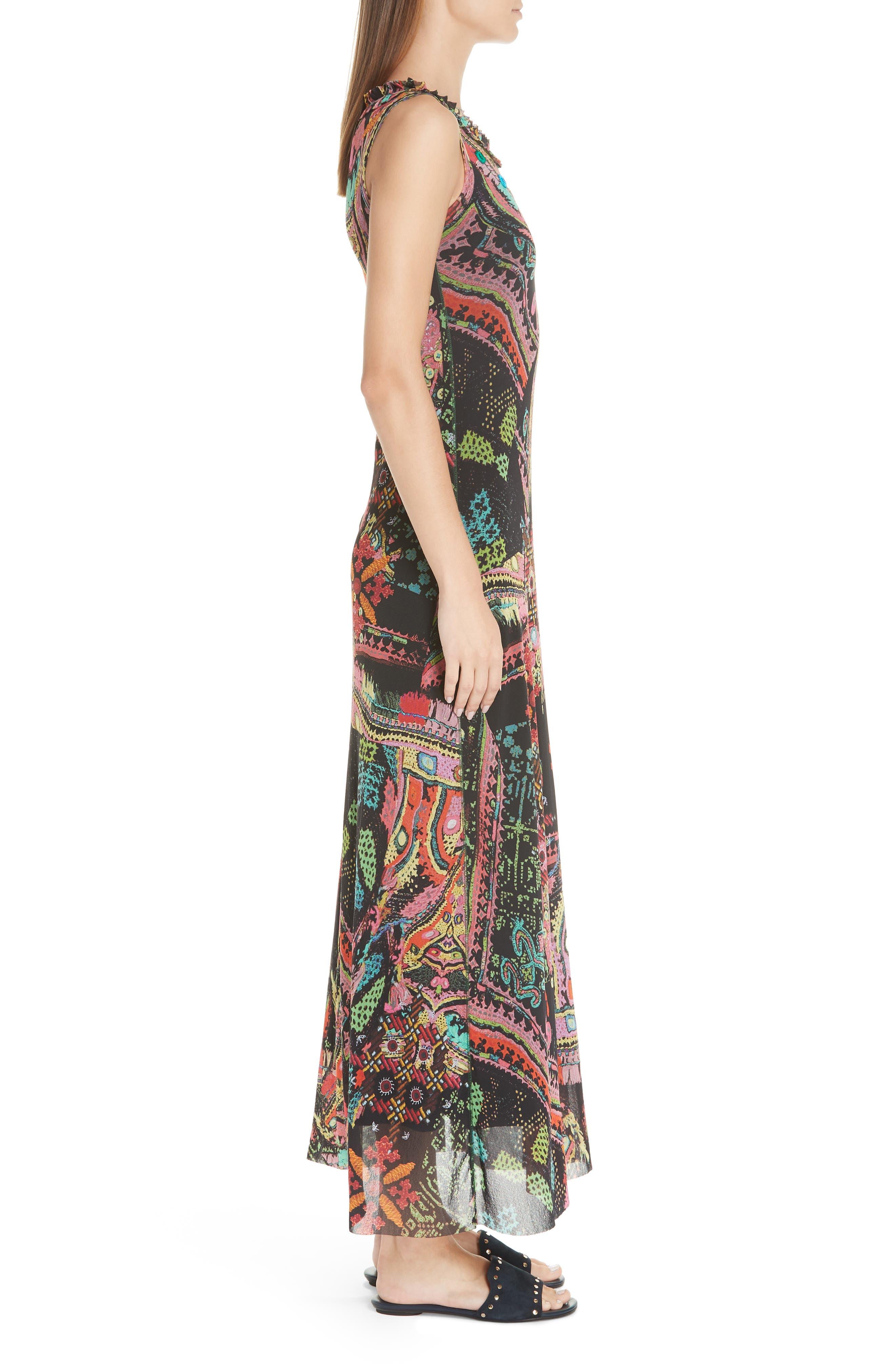 Print Tulle Maxi Dress,                             Alternate thumbnail 3, color,                             NERO