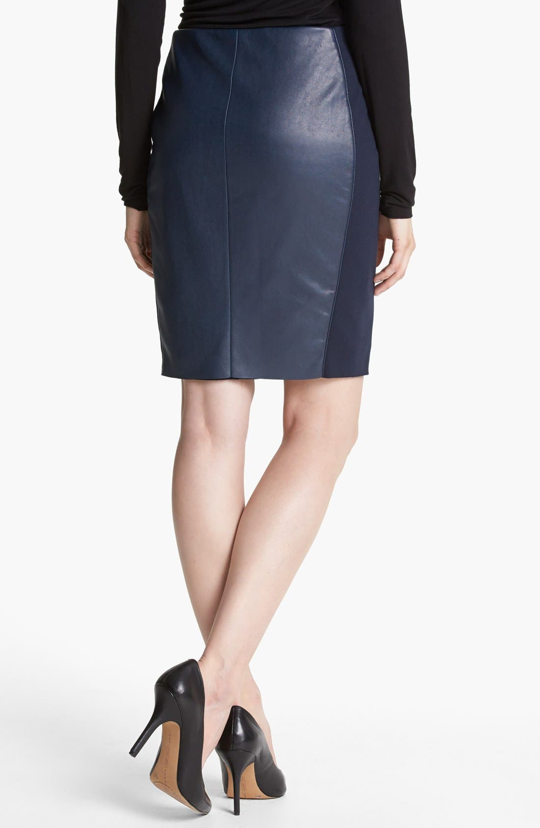 BAILEY 44,                             'She Walk in Beauty' Faux Leather Pencil Skirt,                             Alternate thumbnail 3, color,                             410