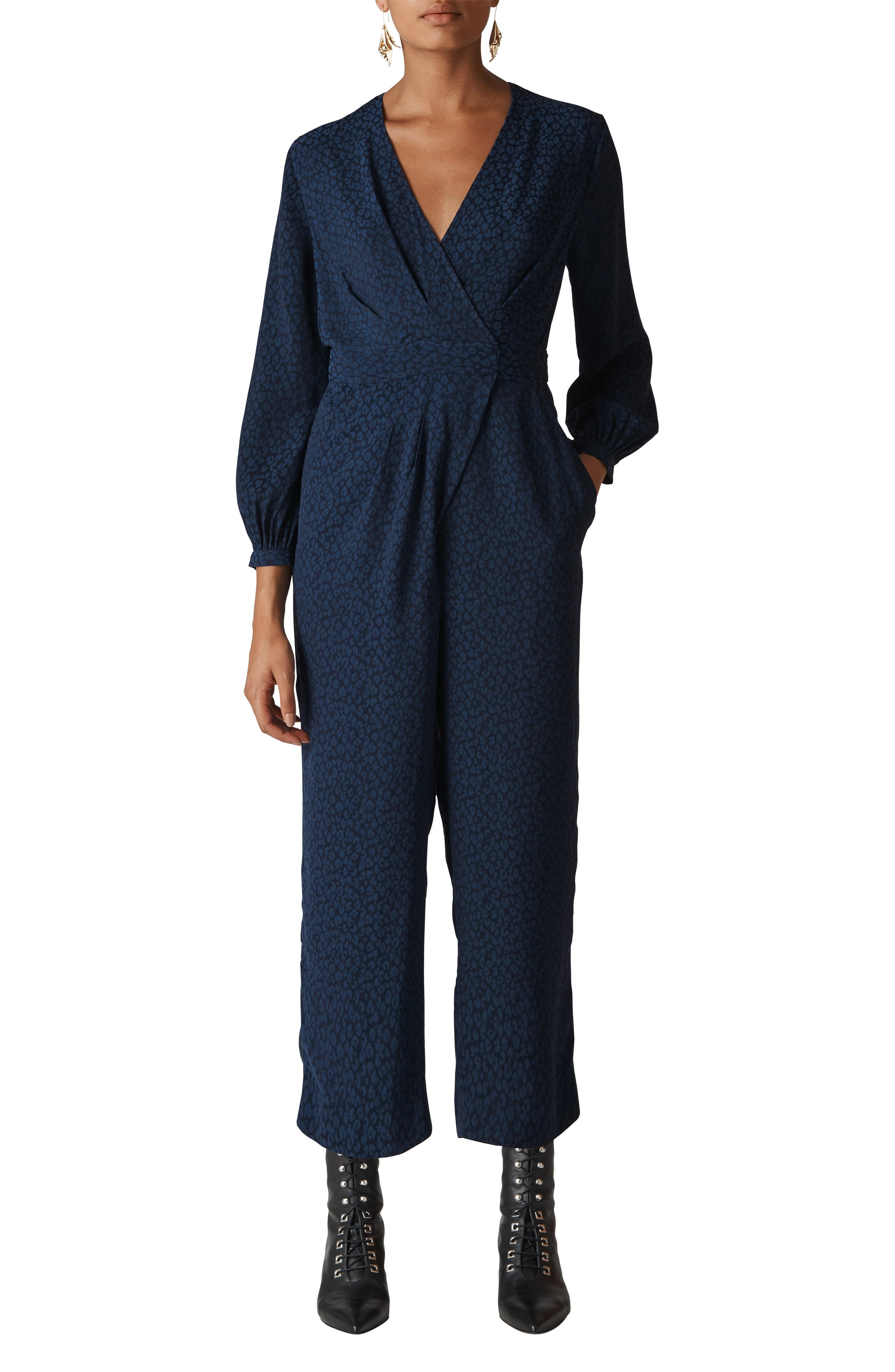 WHISTLES,                             Animal Jacquard Tie Jumpsuit,                             Main thumbnail 1, color,                             400