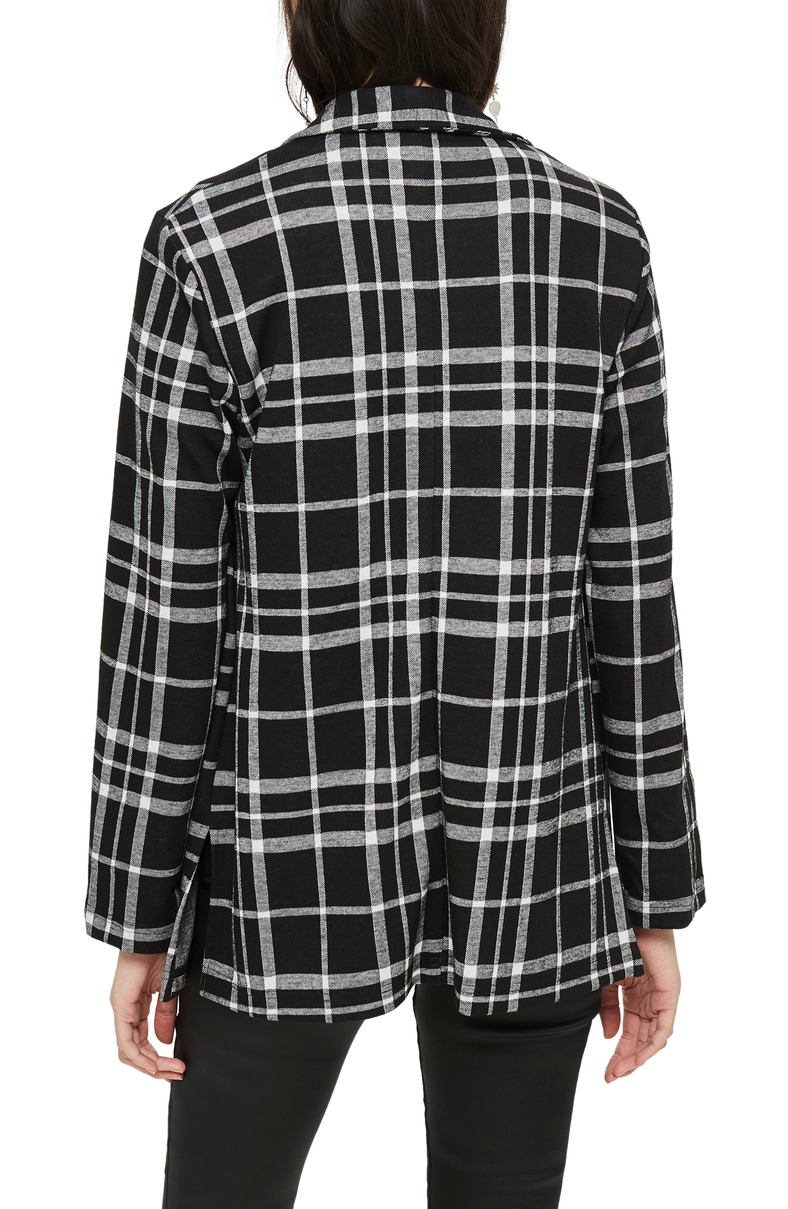 Double Breasted Check Jacket,                             Alternate thumbnail 2, color,                             BLACK MULTI