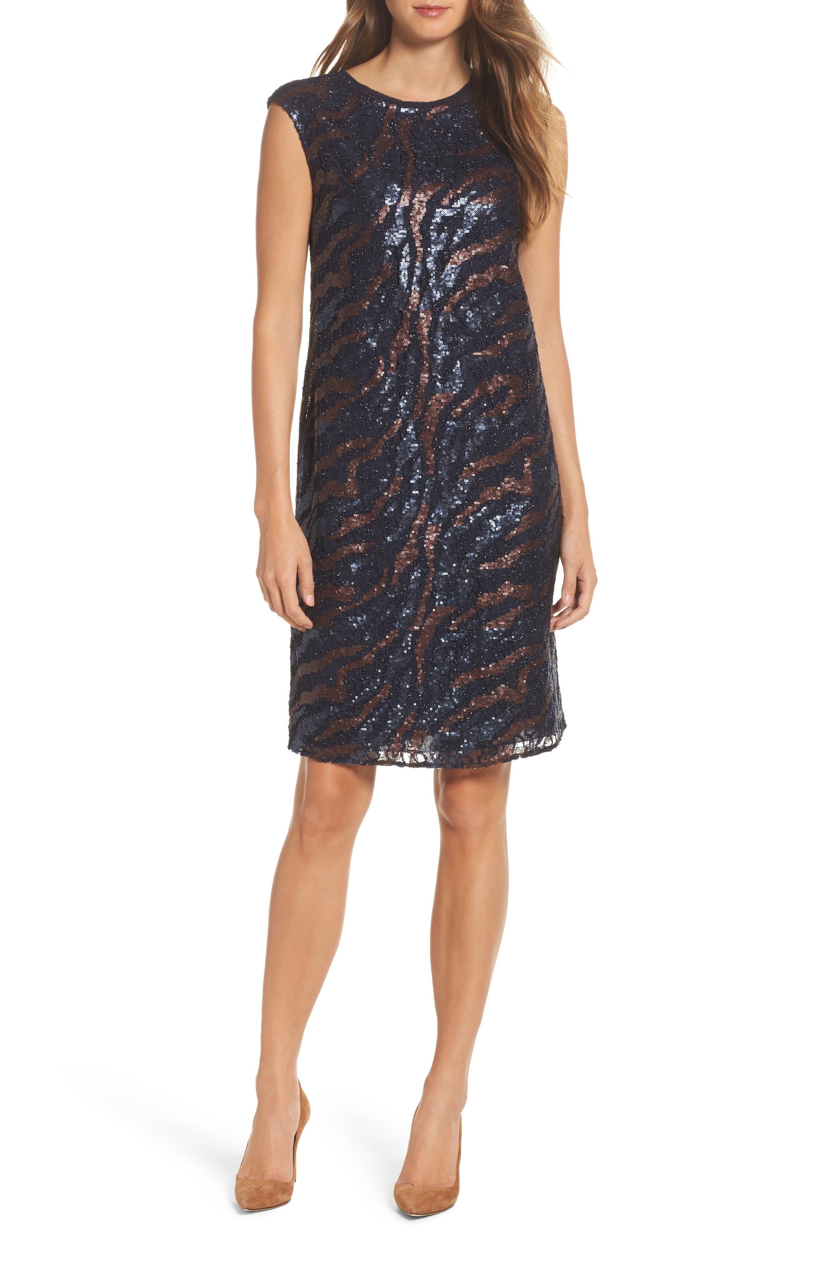 NIC + Zoe Sequin Lace Shift Dress,                             Main thumbnail 1, color,                             229
