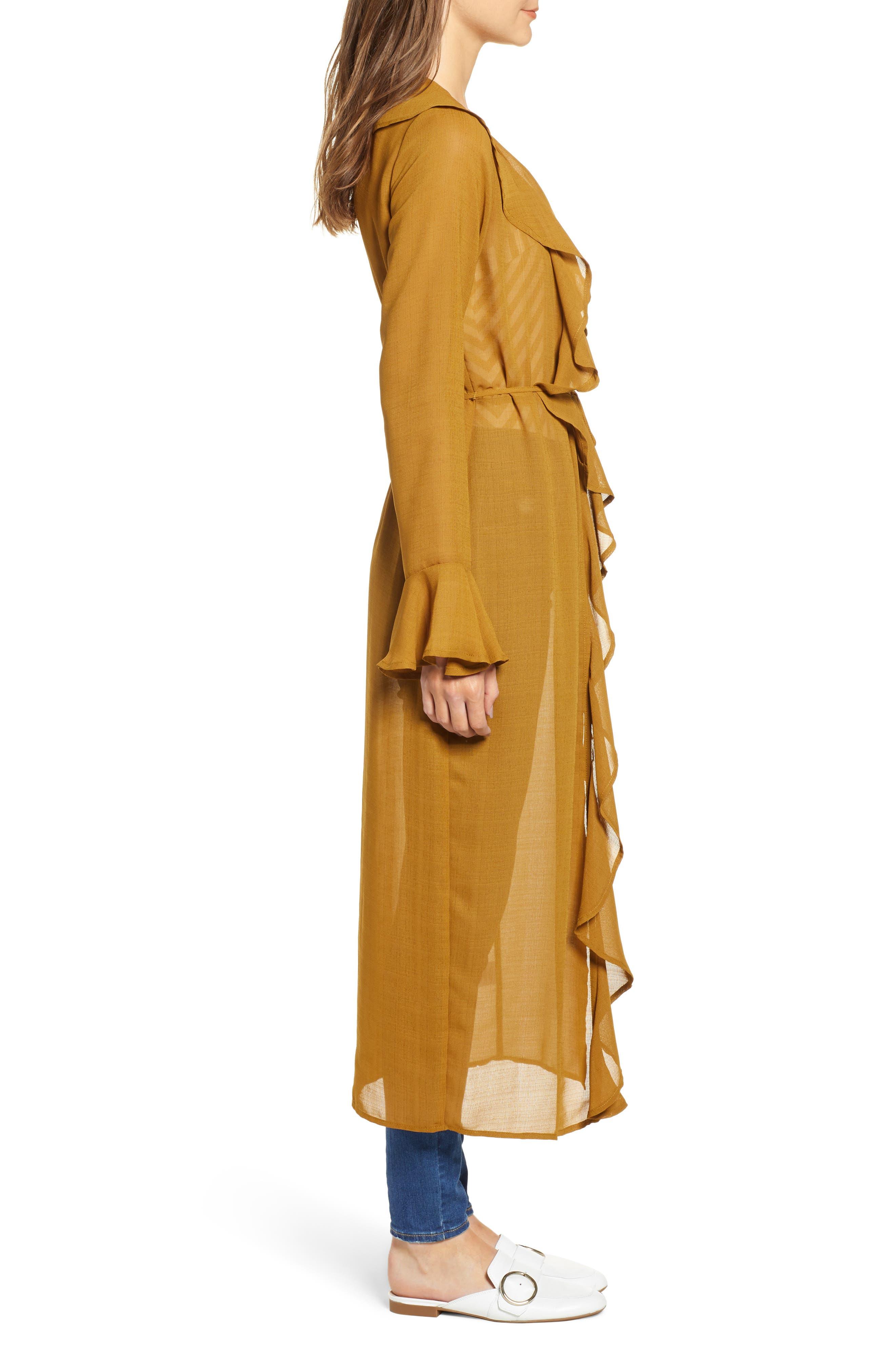 Ruffle Front Wrap Jacket,                             Alternate thumbnail 3, color,                             TAPENADE