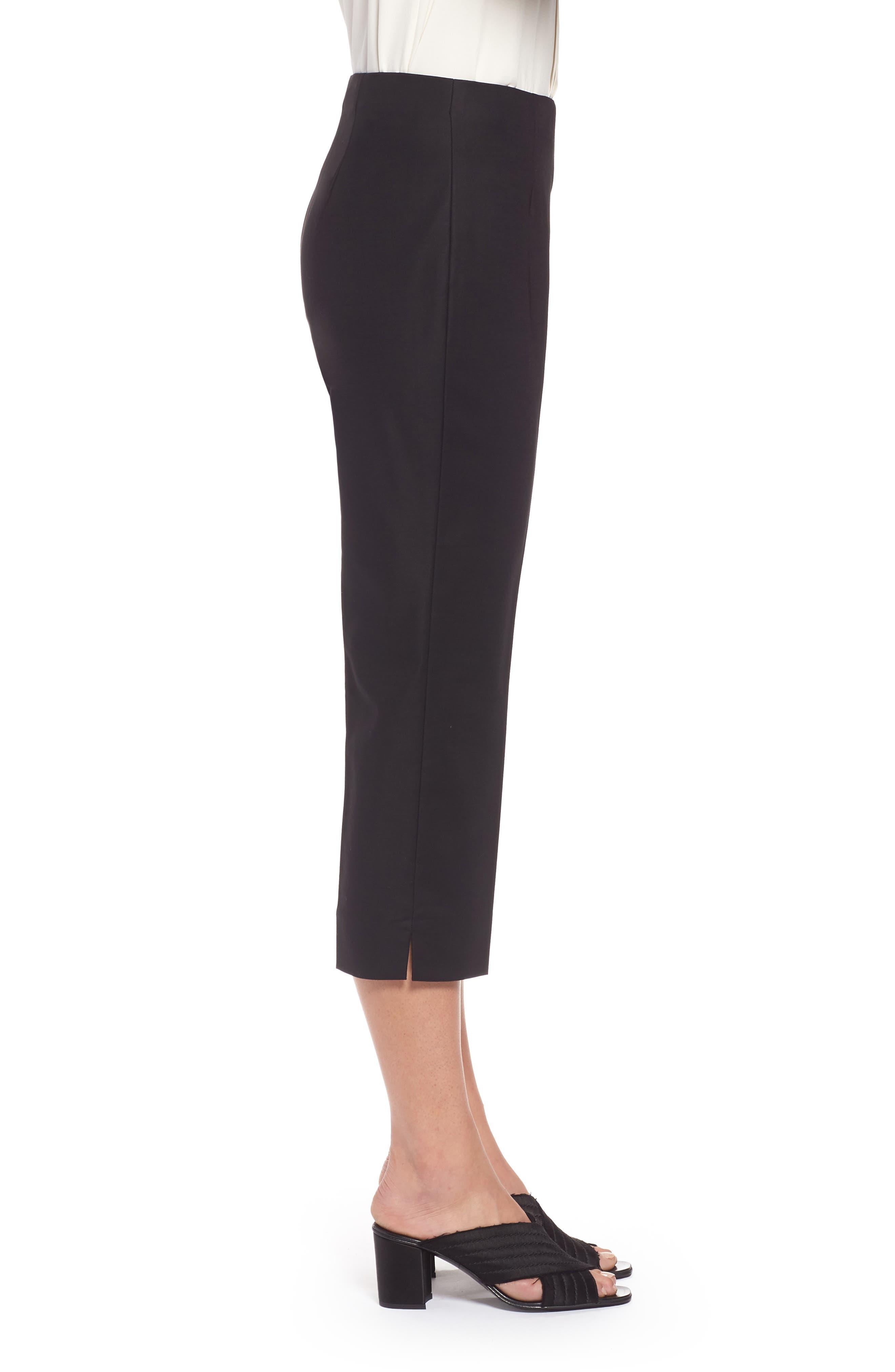 NIC+ZOE,                             Perfect Side Zip Crop Pants,                             Alternate thumbnail 3, color,                             BLACK ONYX