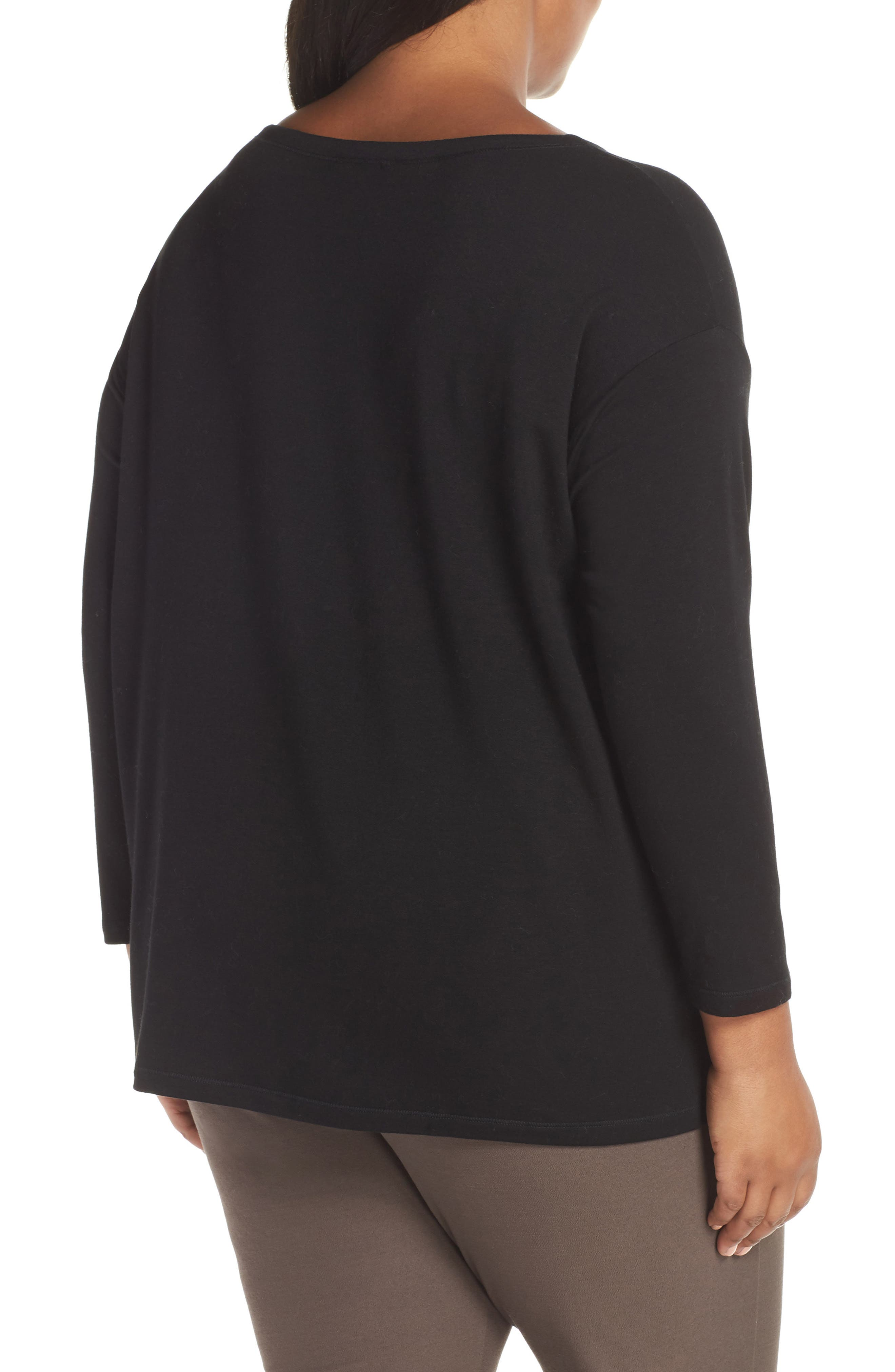 Stretch Terry Top,                             Alternate thumbnail 8, color,                             BLACK