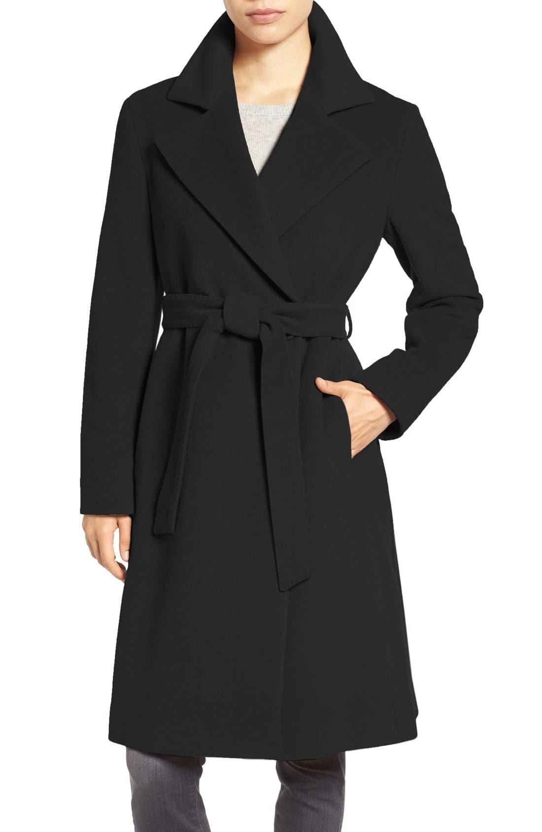 Wool Blend Long Wrap Coat,                             Main thumbnail 1, color,                             001