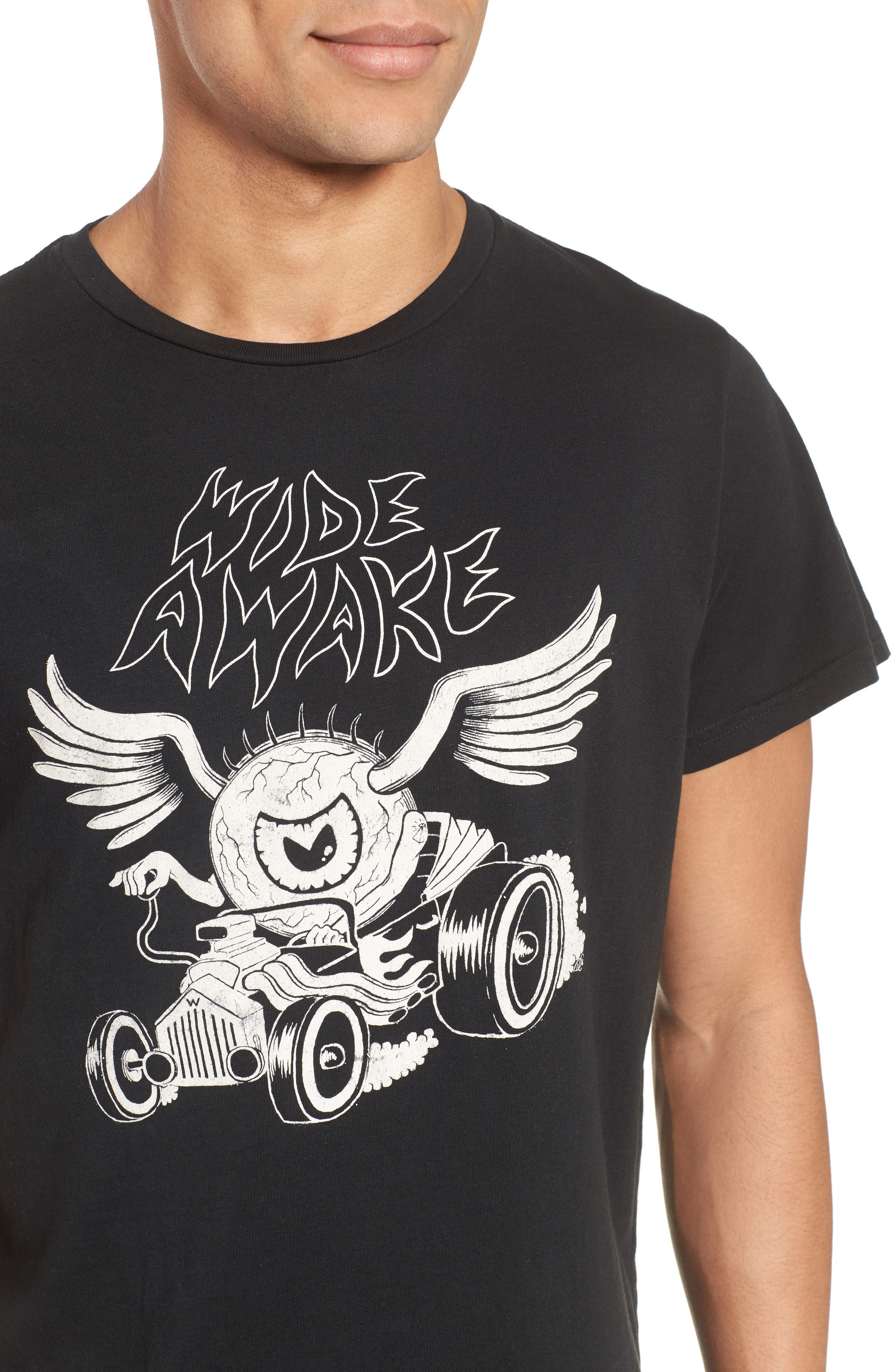 Wide Awake Graphic T-Shirt,                             Alternate thumbnail 4, color,                             DUSTY BLACK