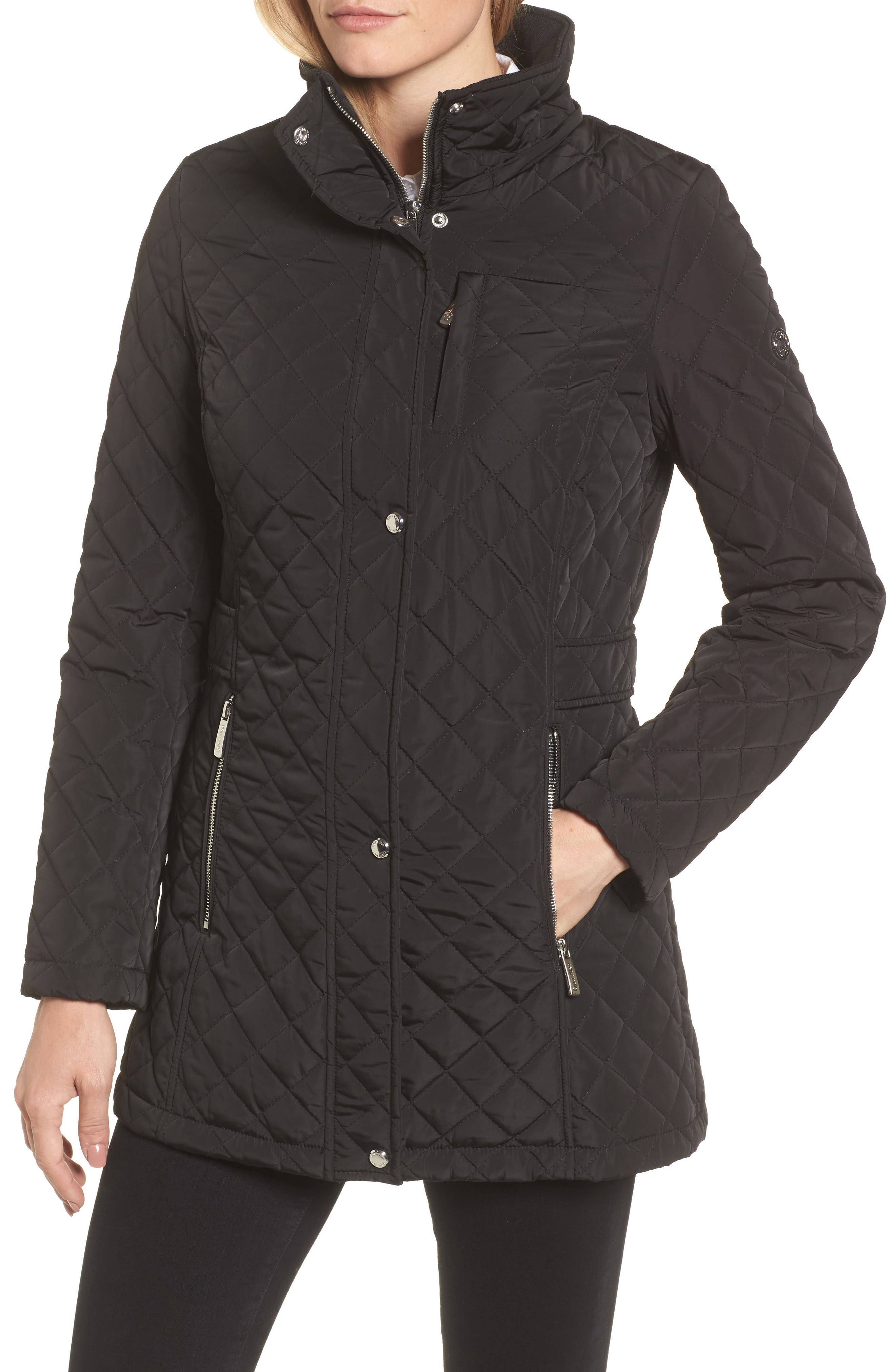 Hooded Quilted Jacket,                             Alternate thumbnail 5, color,                             001
