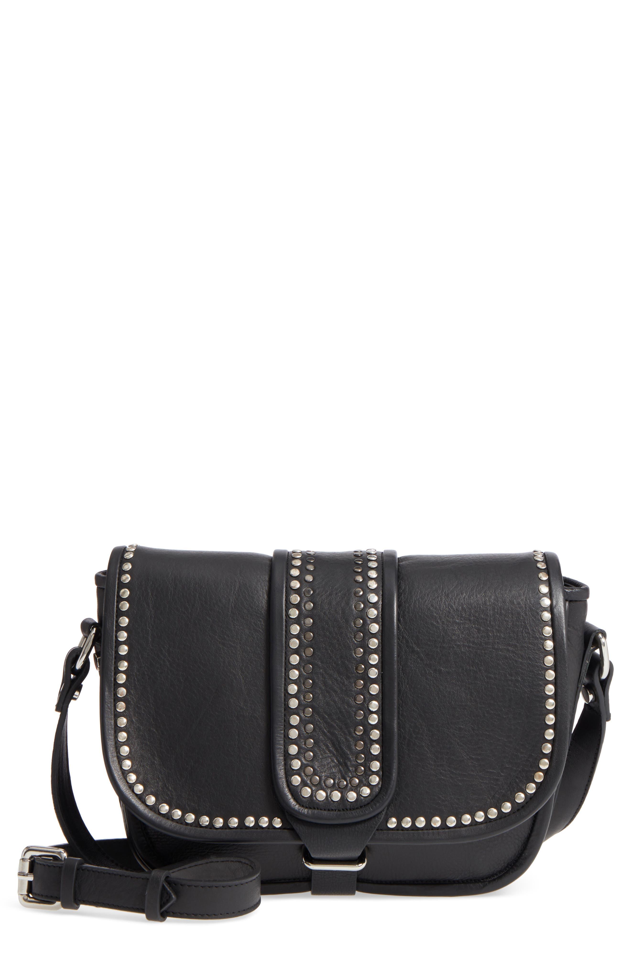 Premium Leather Studded Shoulder Bag,                         Main,                         color,