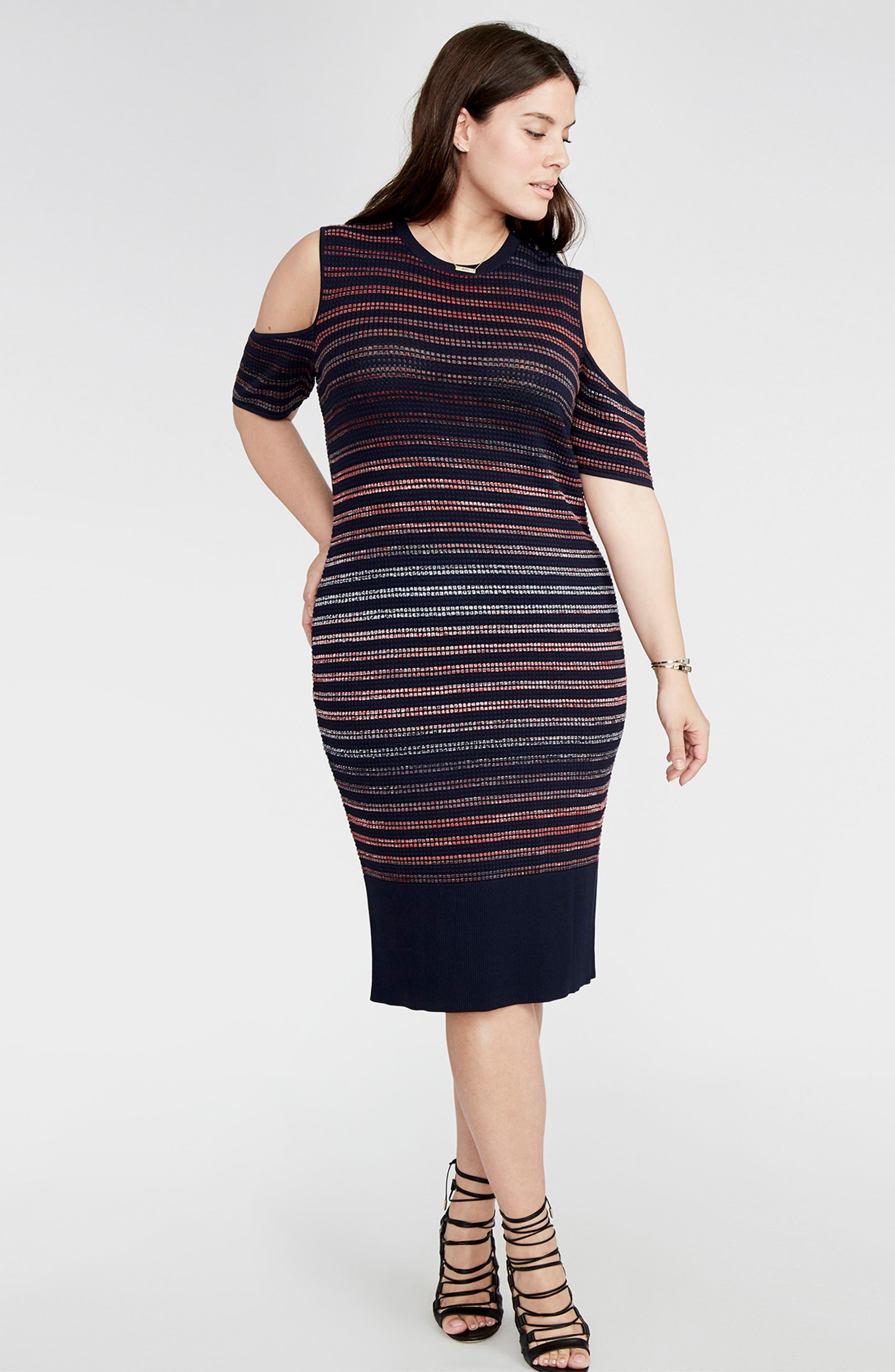 Ombré Stripe Cold Shoulder Sweater Dress,                             Alternate thumbnail 3, color,                             458