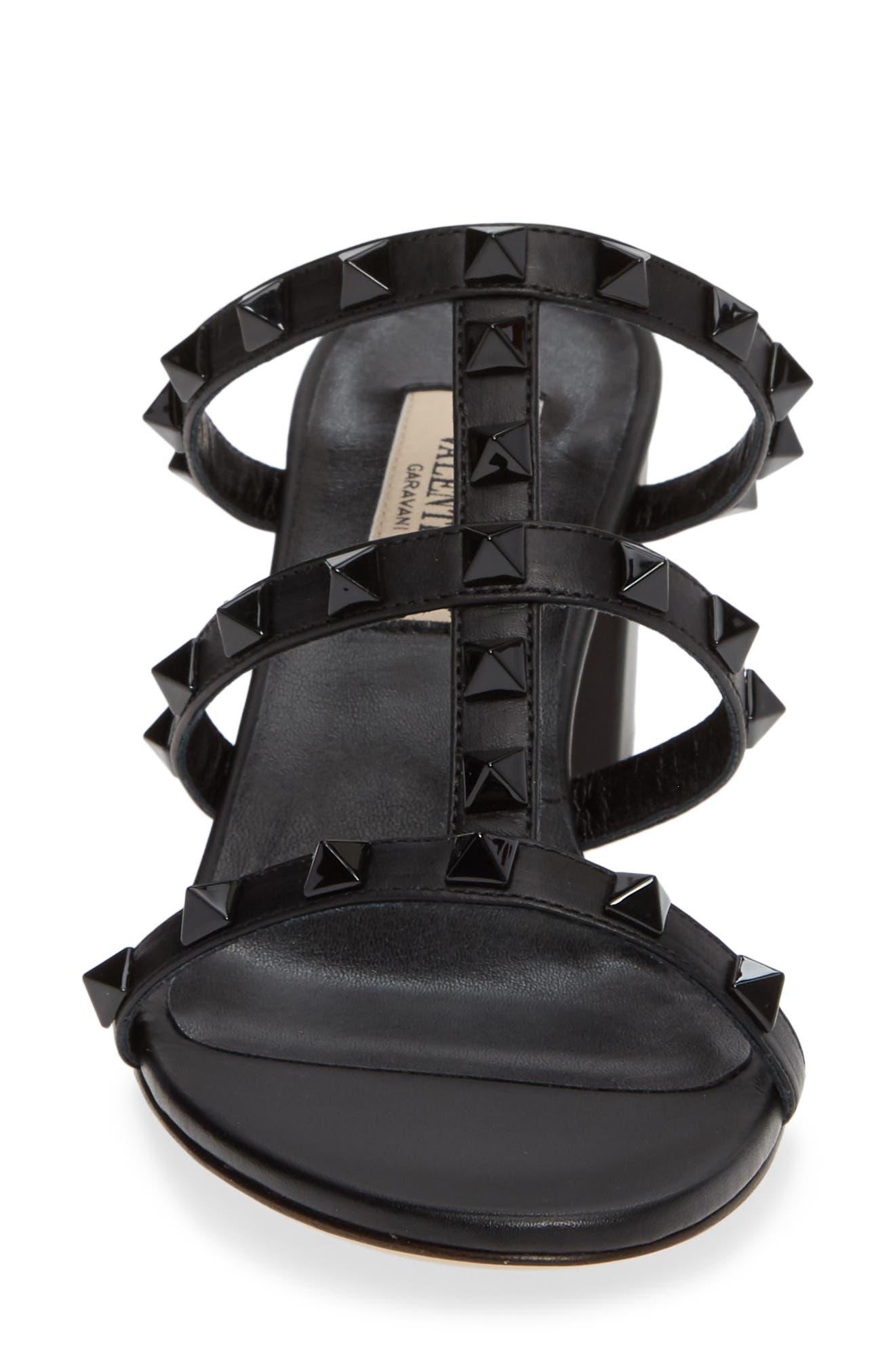 Rockstud Slide Sandal,                             Alternate thumbnail 4, color,                             BLACK