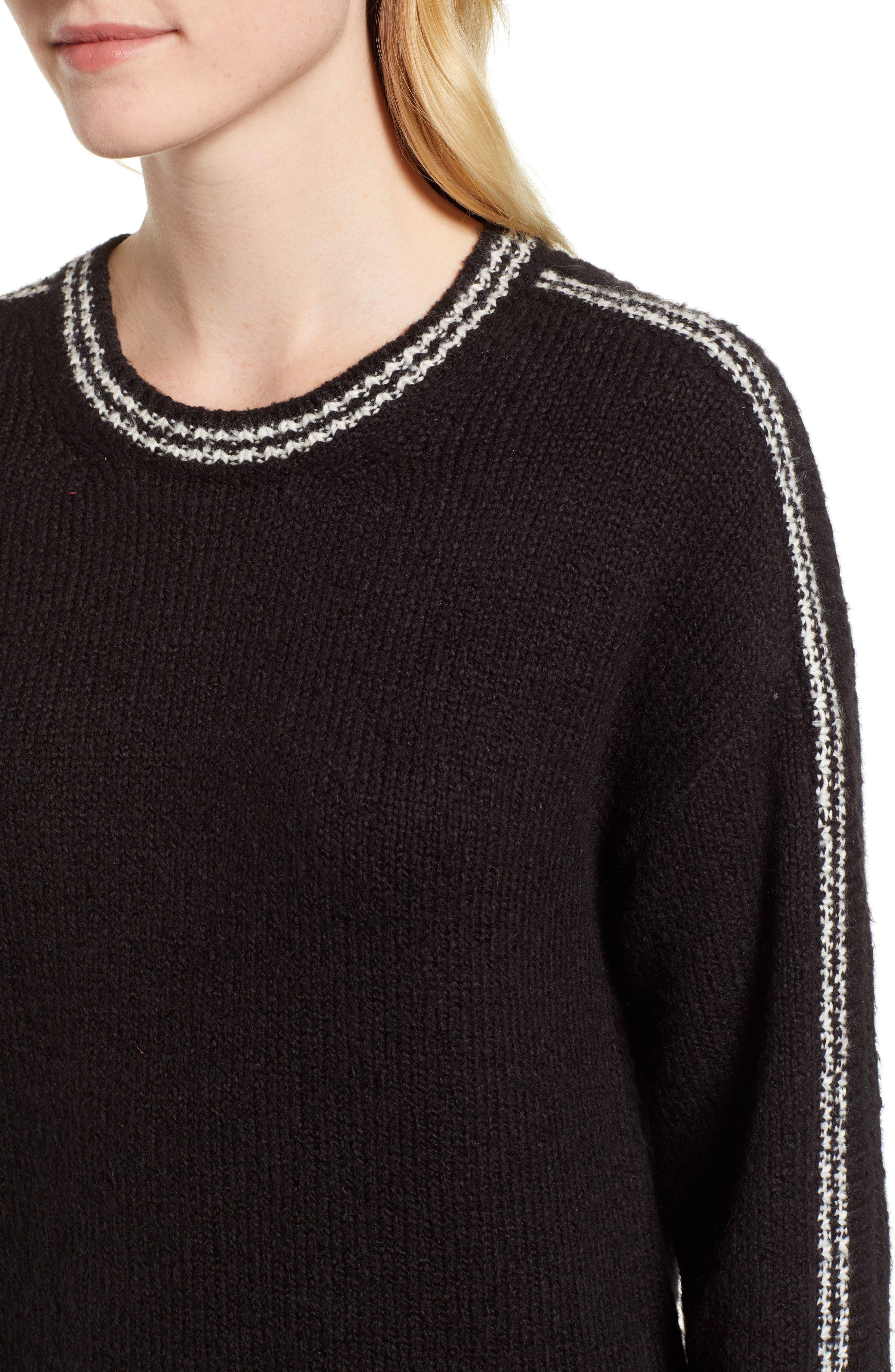 Stripe Sleeve Cotton Blend Sweater,                             Alternate thumbnail 4, color,                             BLACK