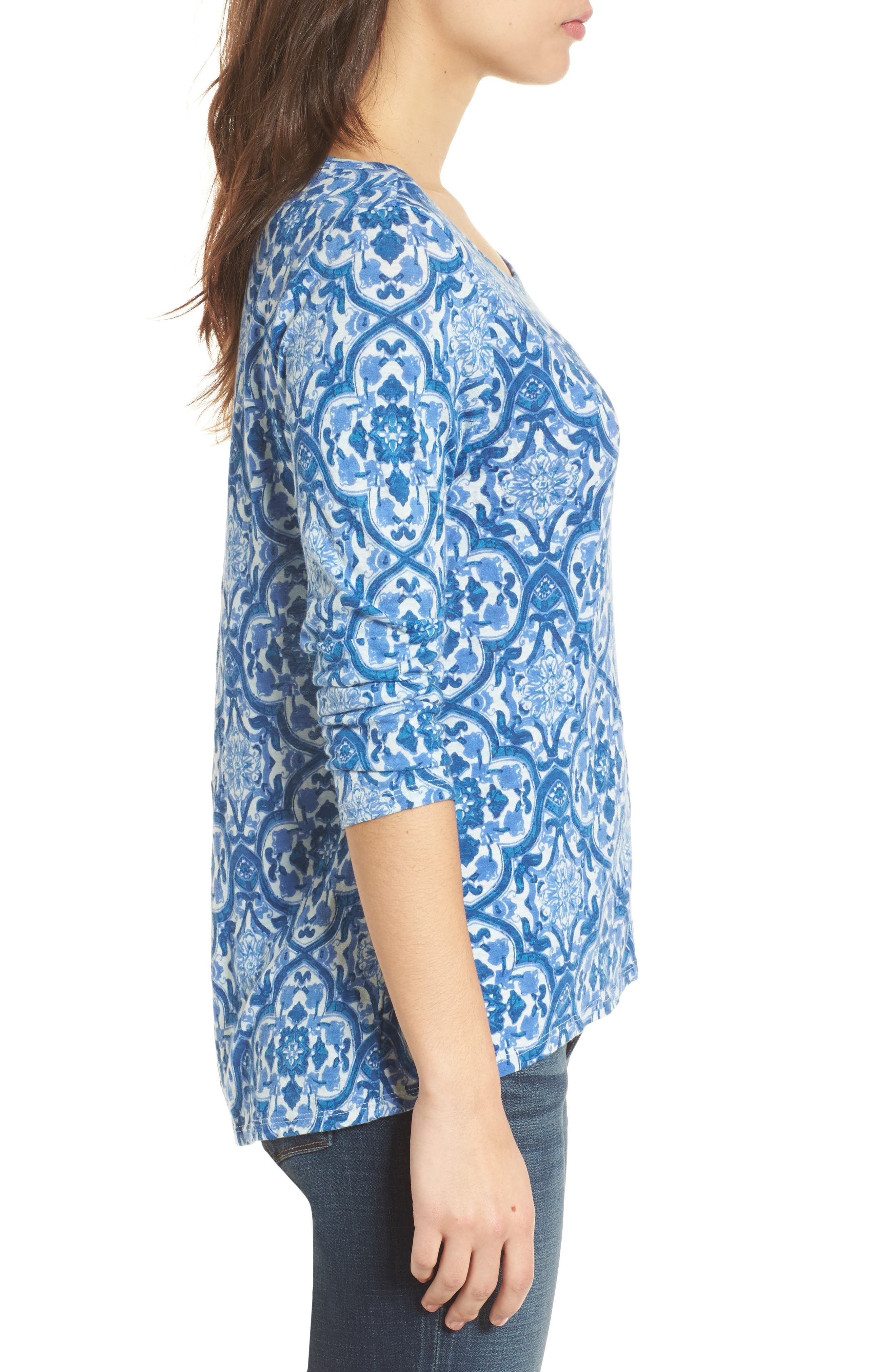 All Over Print Cotton Blend Top,                             Alternate thumbnail 3, color,                             460