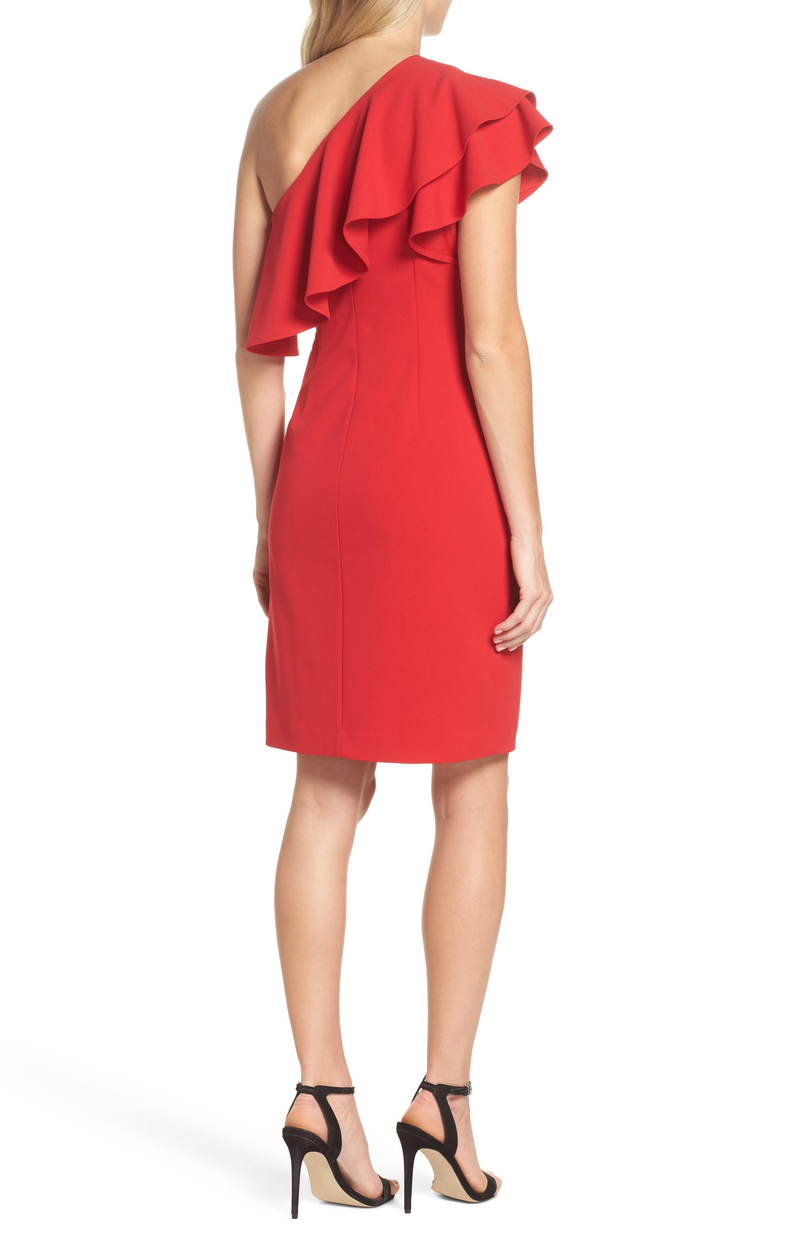 One-Shoulder Ruffle Dress,                             Alternate thumbnail 4, color,