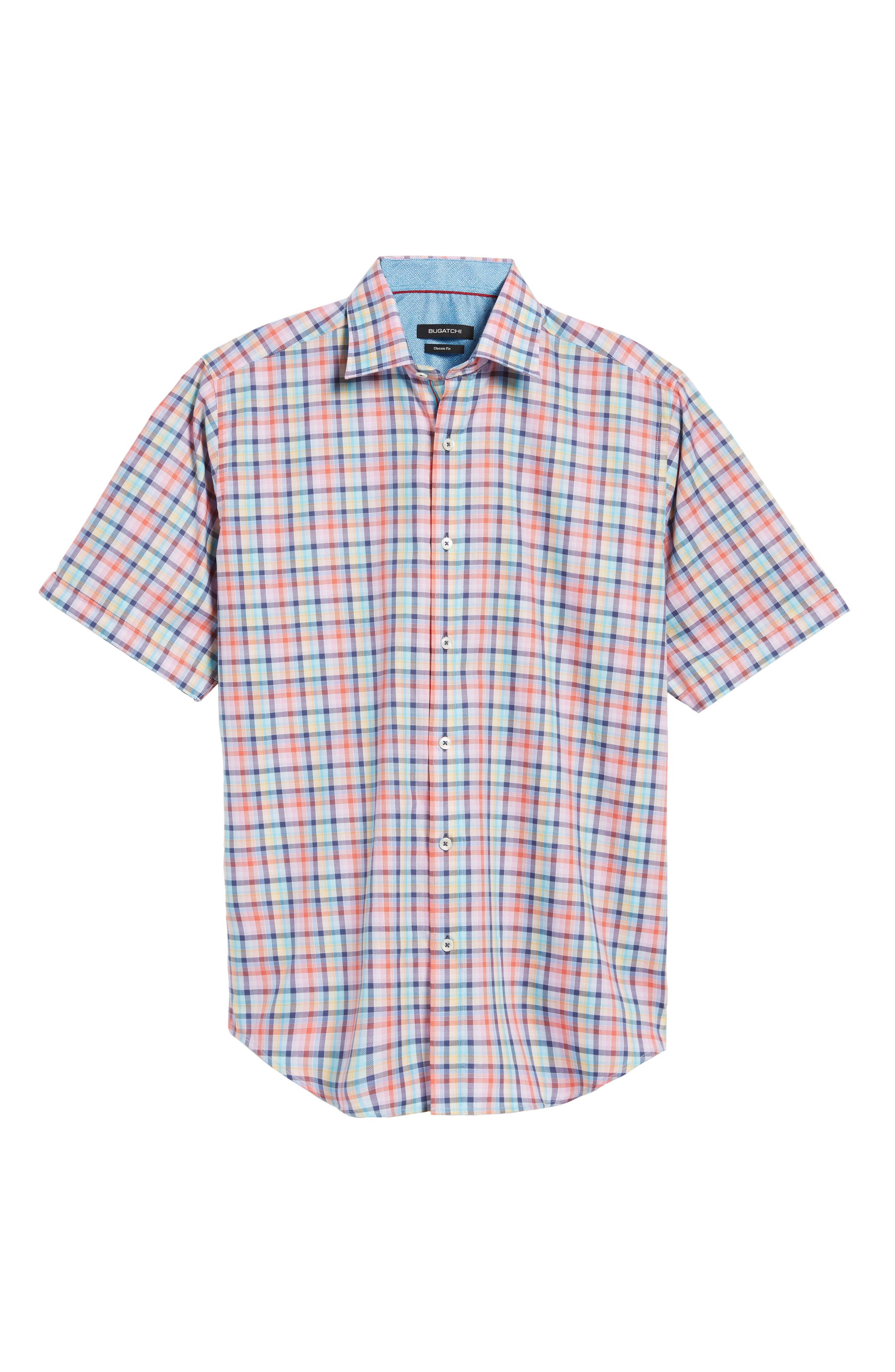 Classic Fit Check Short Sleeve Sport Shirt,                             Alternate thumbnail 6, color,                             953