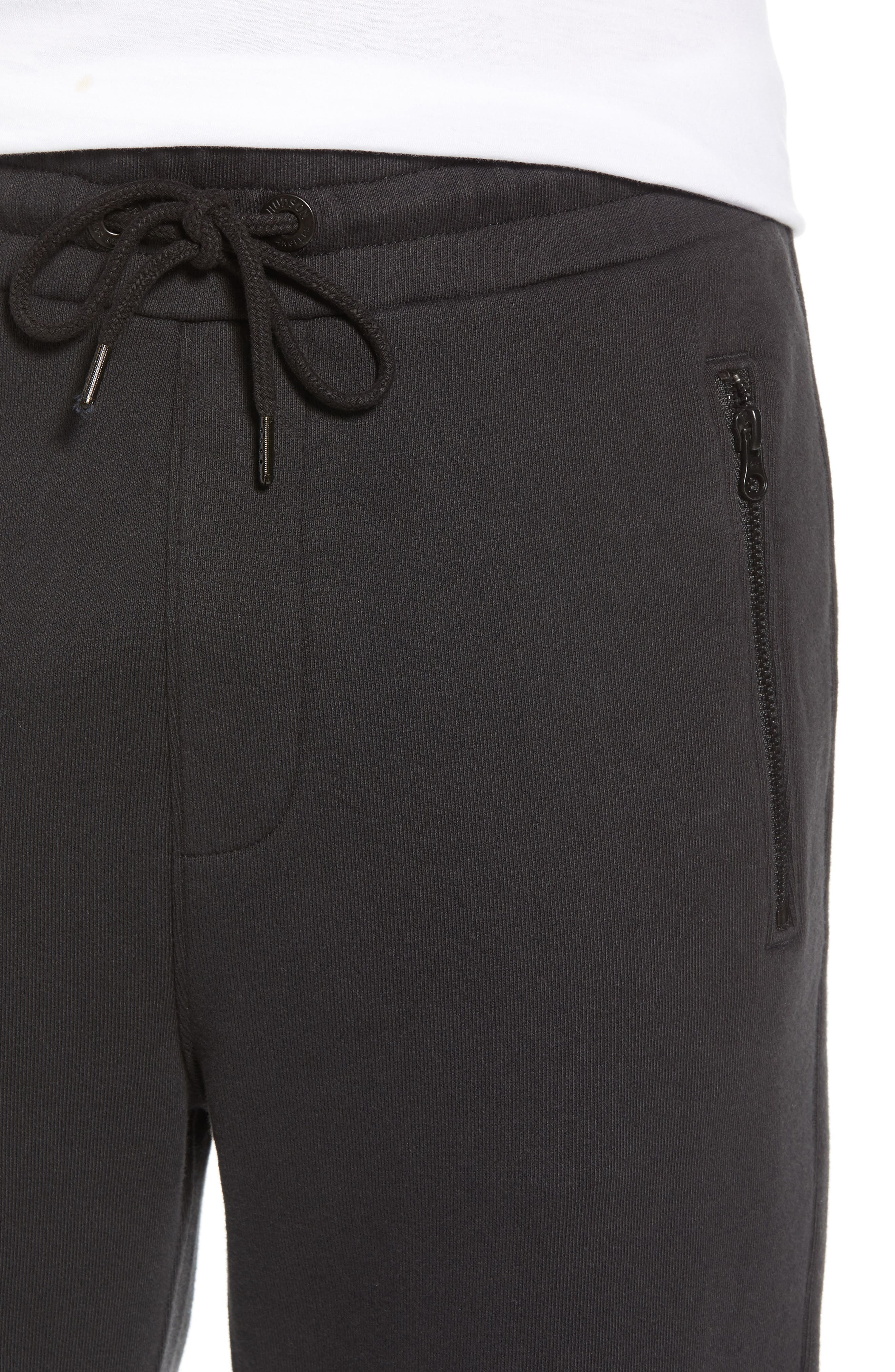Hudson Blinder Slim Fit Moto Sweatpants,                             Alternate thumbnail 4, color,                             BLACK
