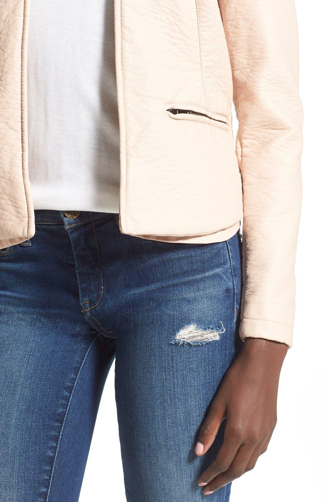 Faux Leather Open Front Jacket,                             Alternate thumbnail 2, color,
