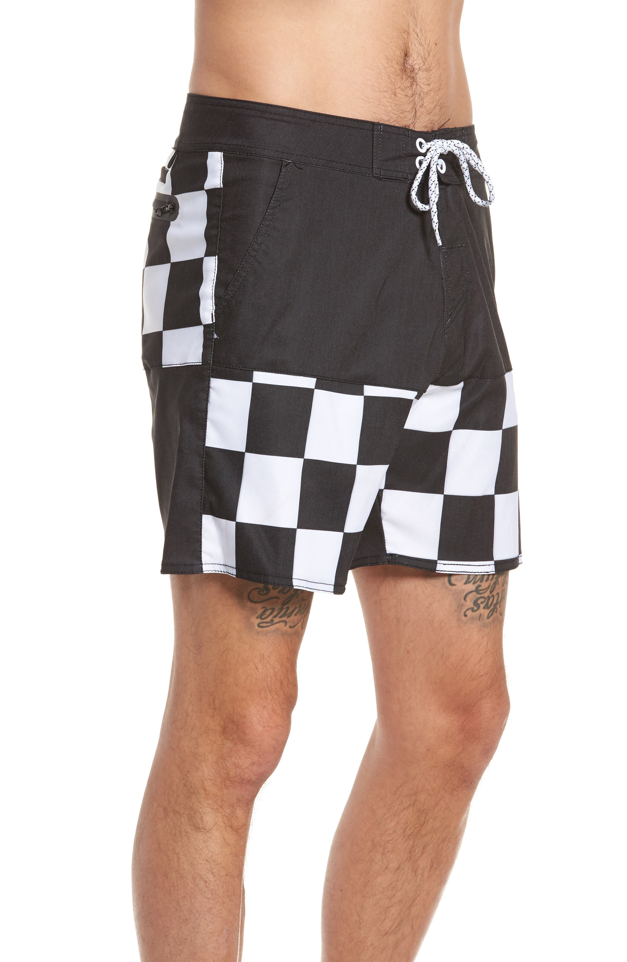 Checkered Board Shorts,                             Alternate thumbnail 4, color,                             001