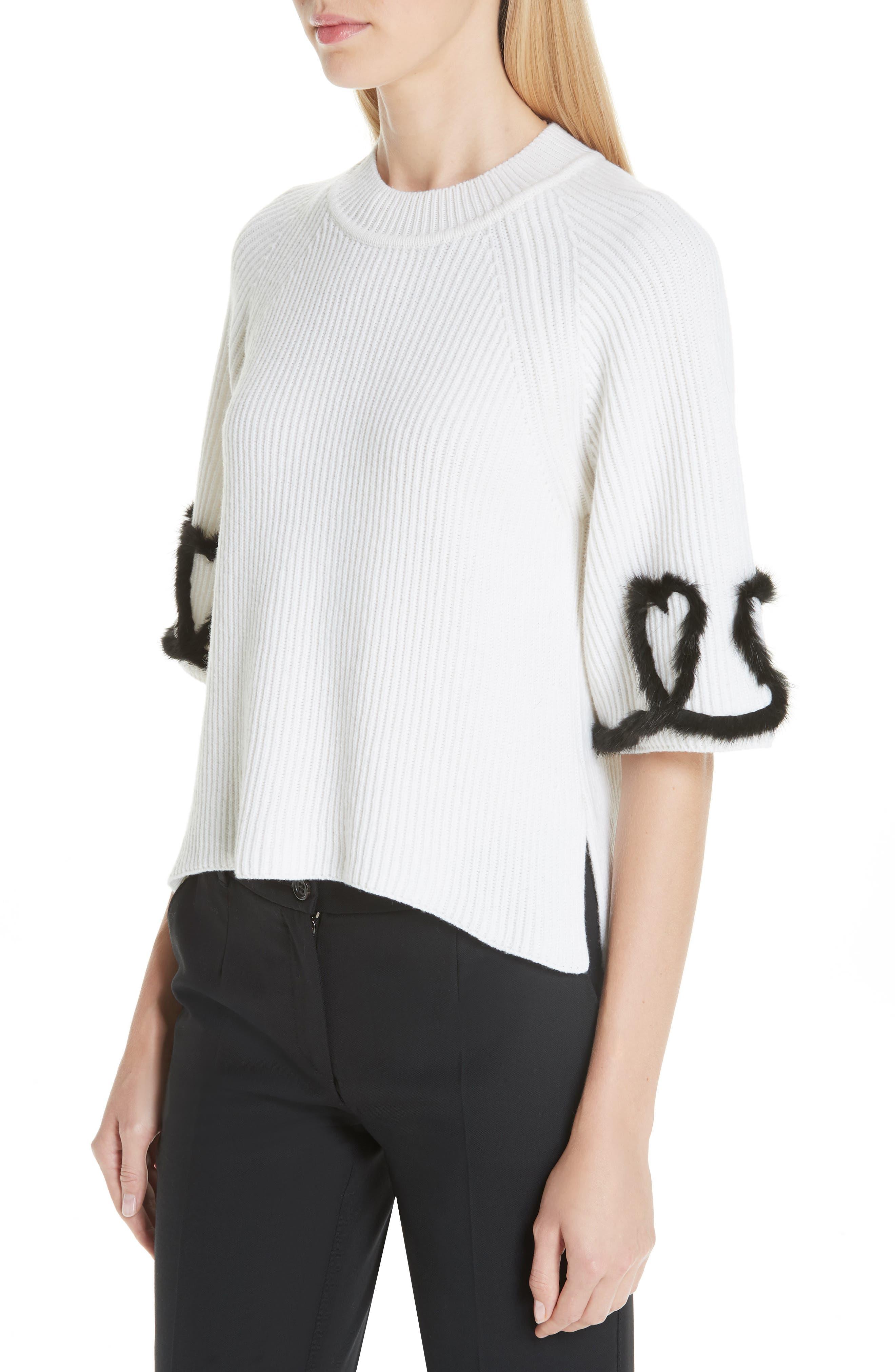 FENDI,                             Scribble Heart Sweater with Genuine Mink Fur Trim,                             Alternate thumbnail 4, color,                             WHITE