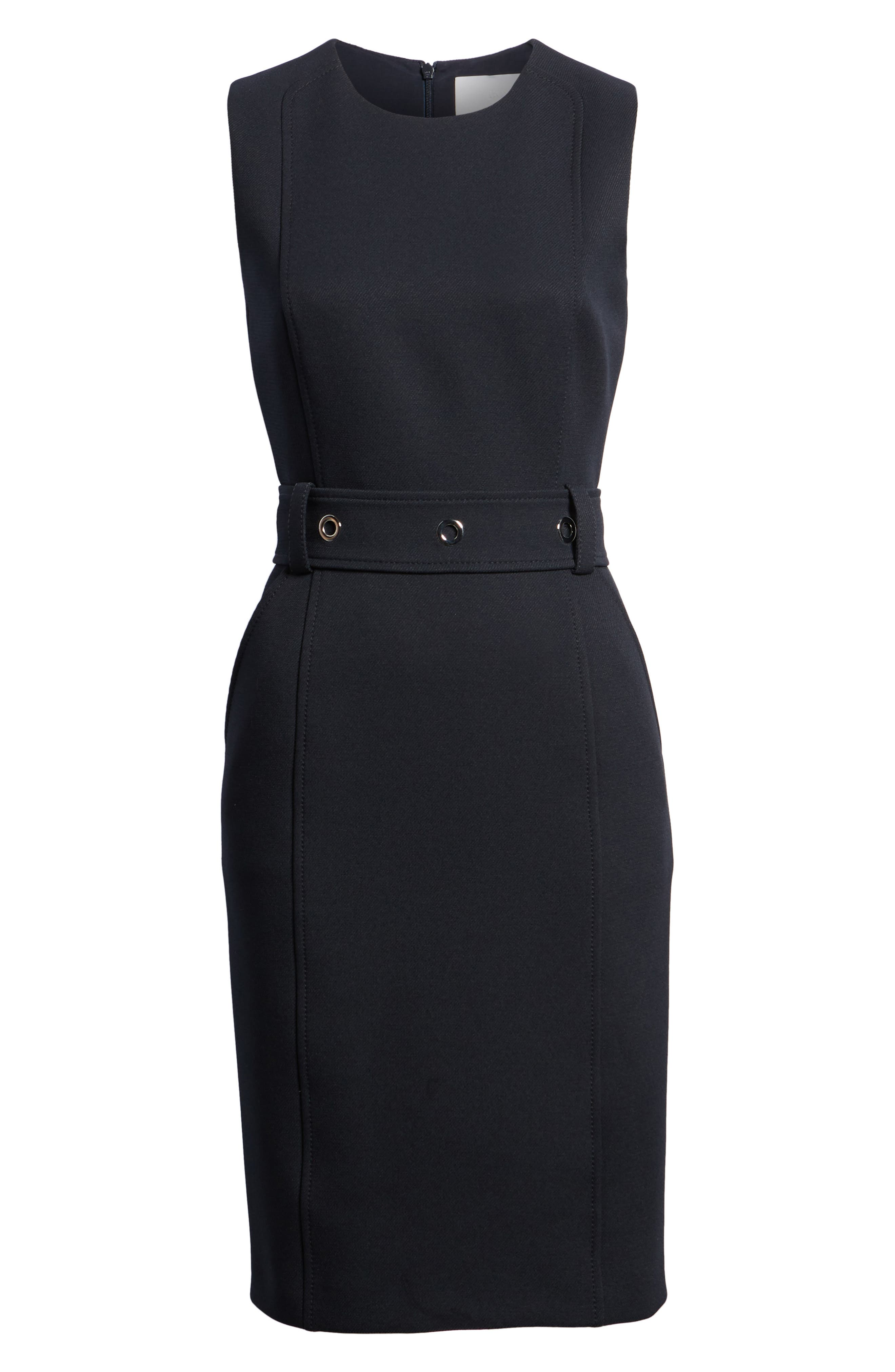 Duleama Belted Sheath Dress,                             Alternate thumbnail 6, color,