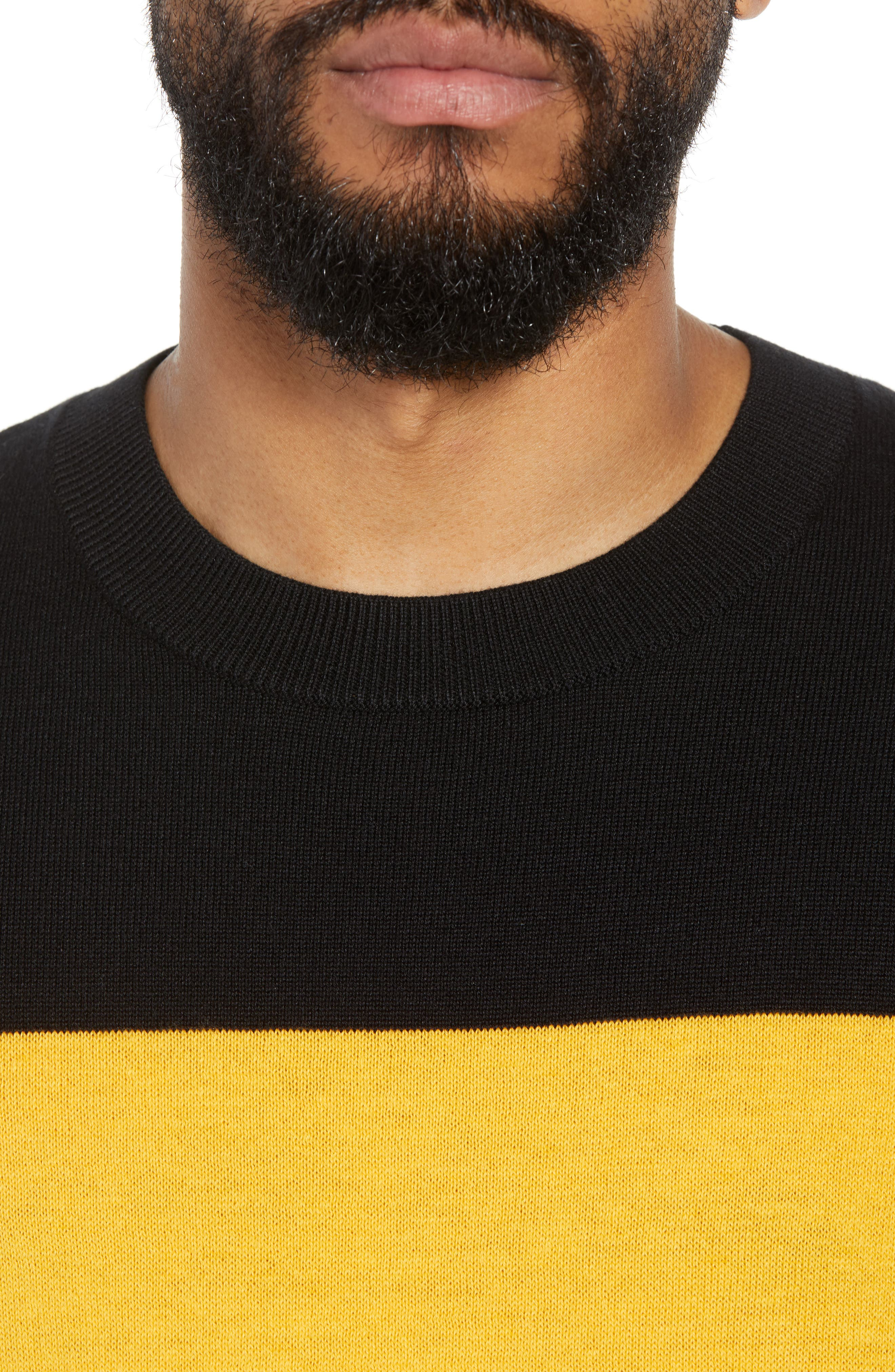 Rugby Stripe Sweater,                             Alternate thumbnail 4, color,                             BLACK YELLOW RUGBY STRIPE