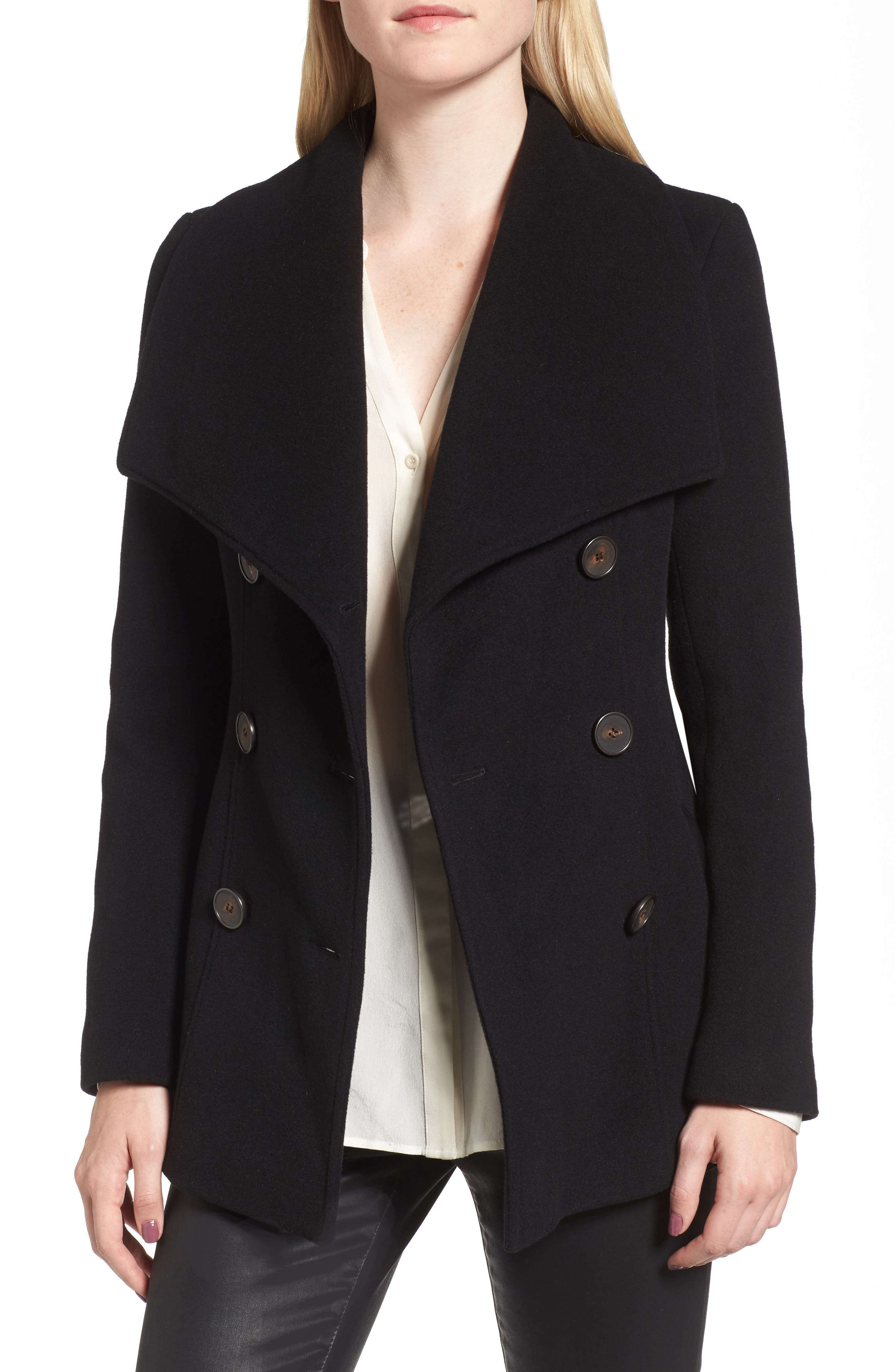 Norissa Double-Breasted Wool Blend Peacoat,                             Alternate thumbnail 4, color,                             001
