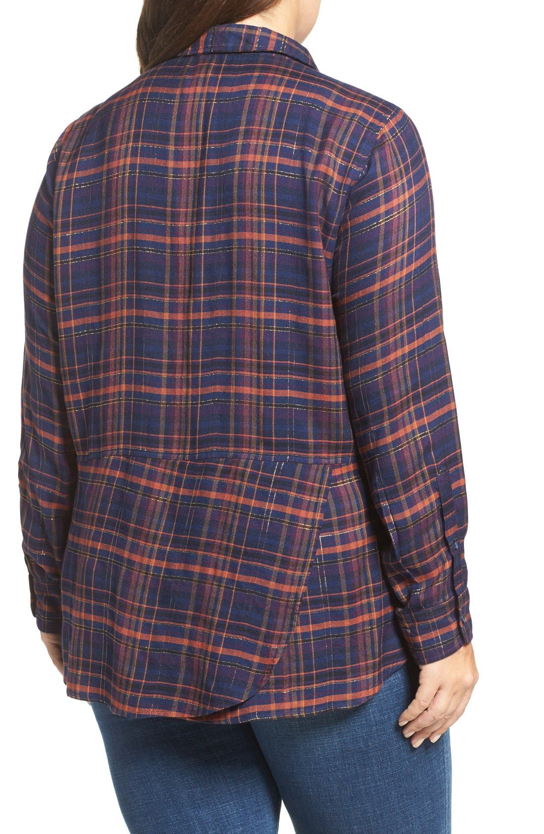 Back Overlay Plaid Shirt,                             Alternate thumbnail 6, color,                             460