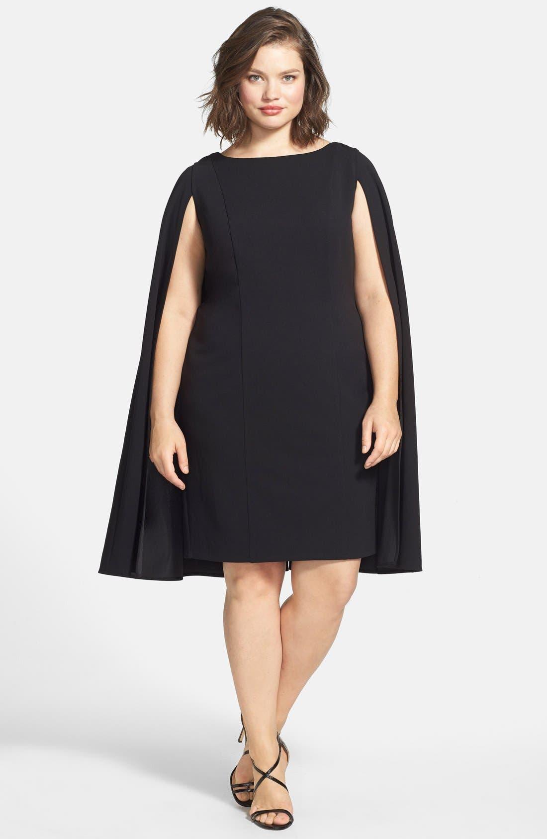 Cape Sheath Dress,                             Alternate thumbnail 10, color,                             001