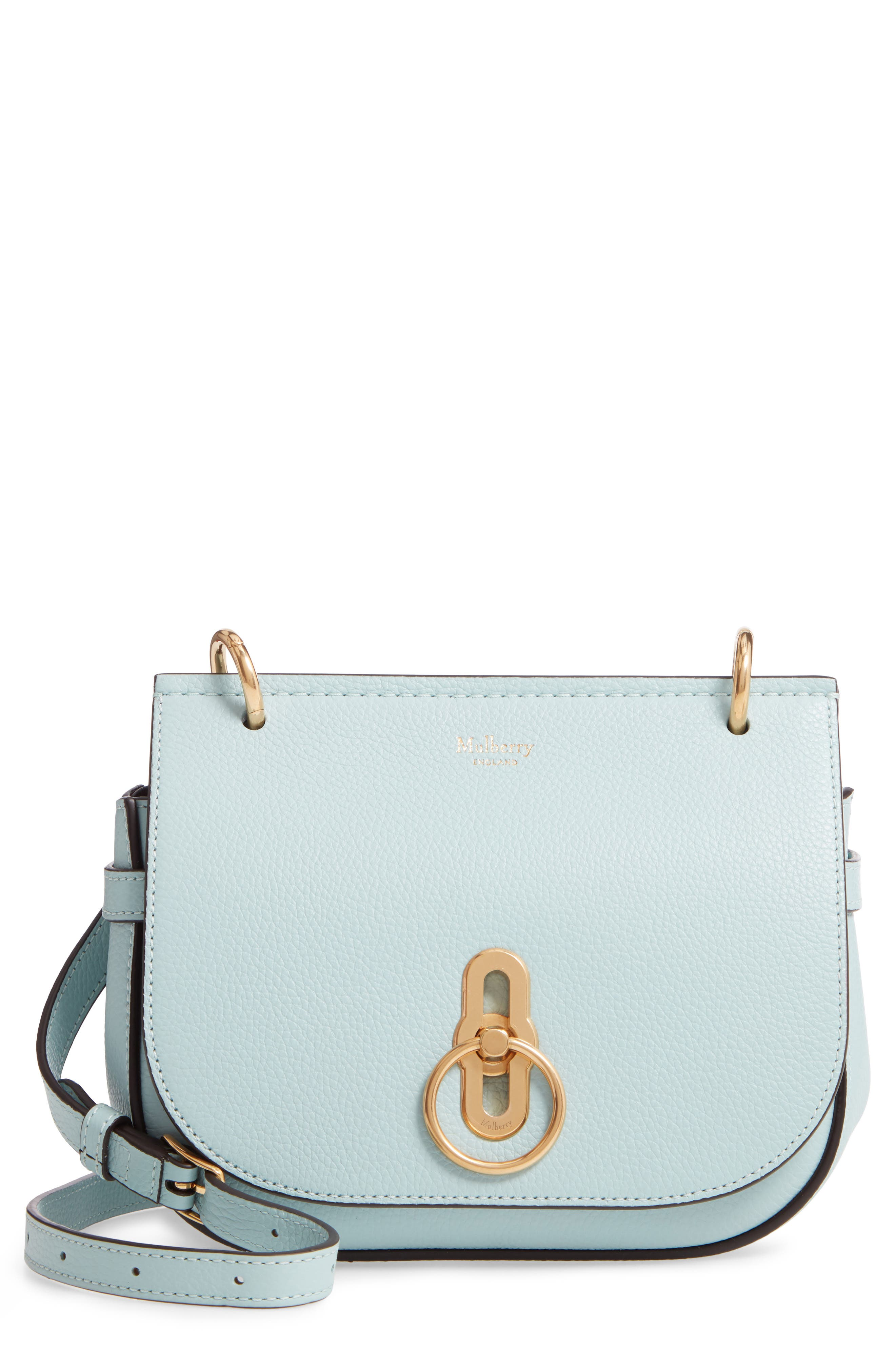 MULBERRY Small Amberley Leather Crossbody Bag in Light Antique Blue
