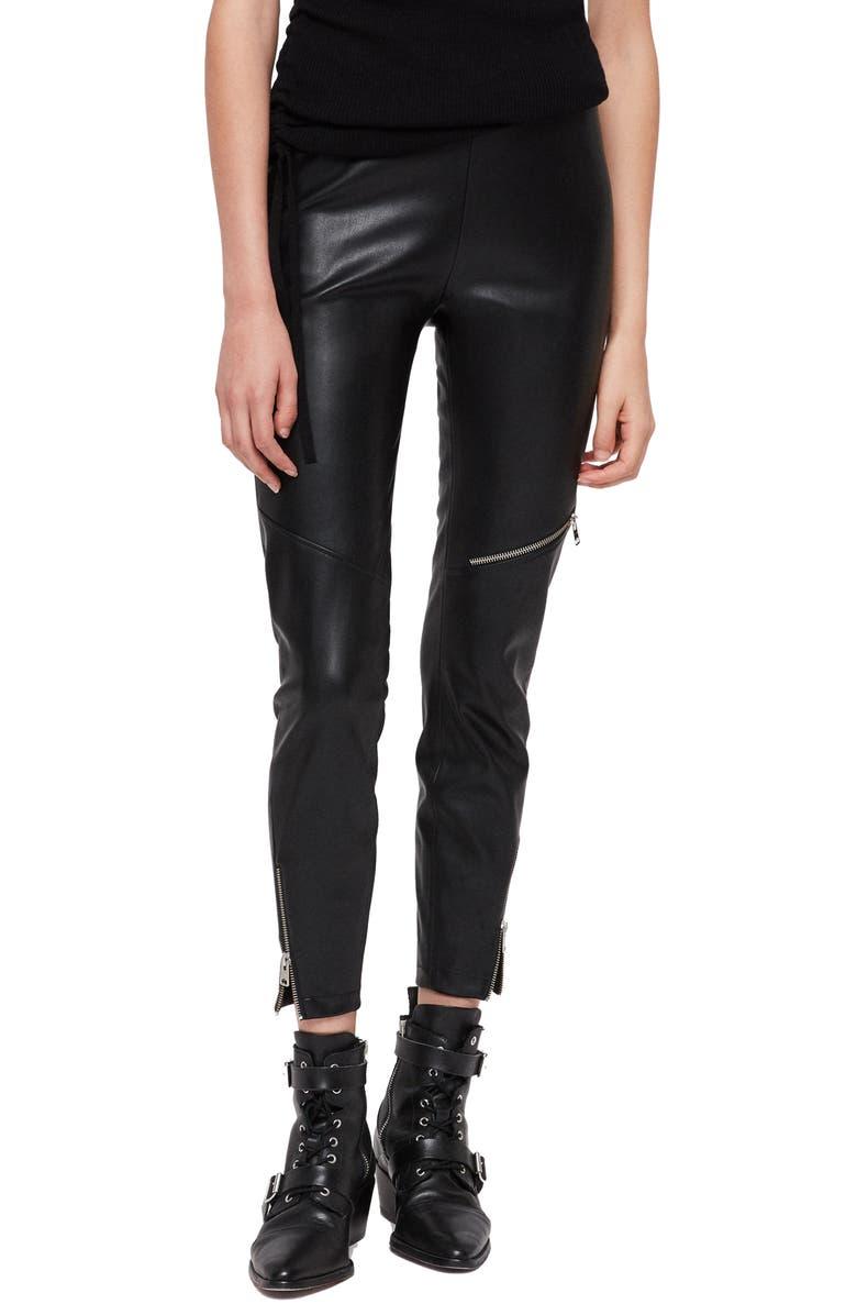 Kriva Faux Leather Biker Leggings, Main, color, BLACK