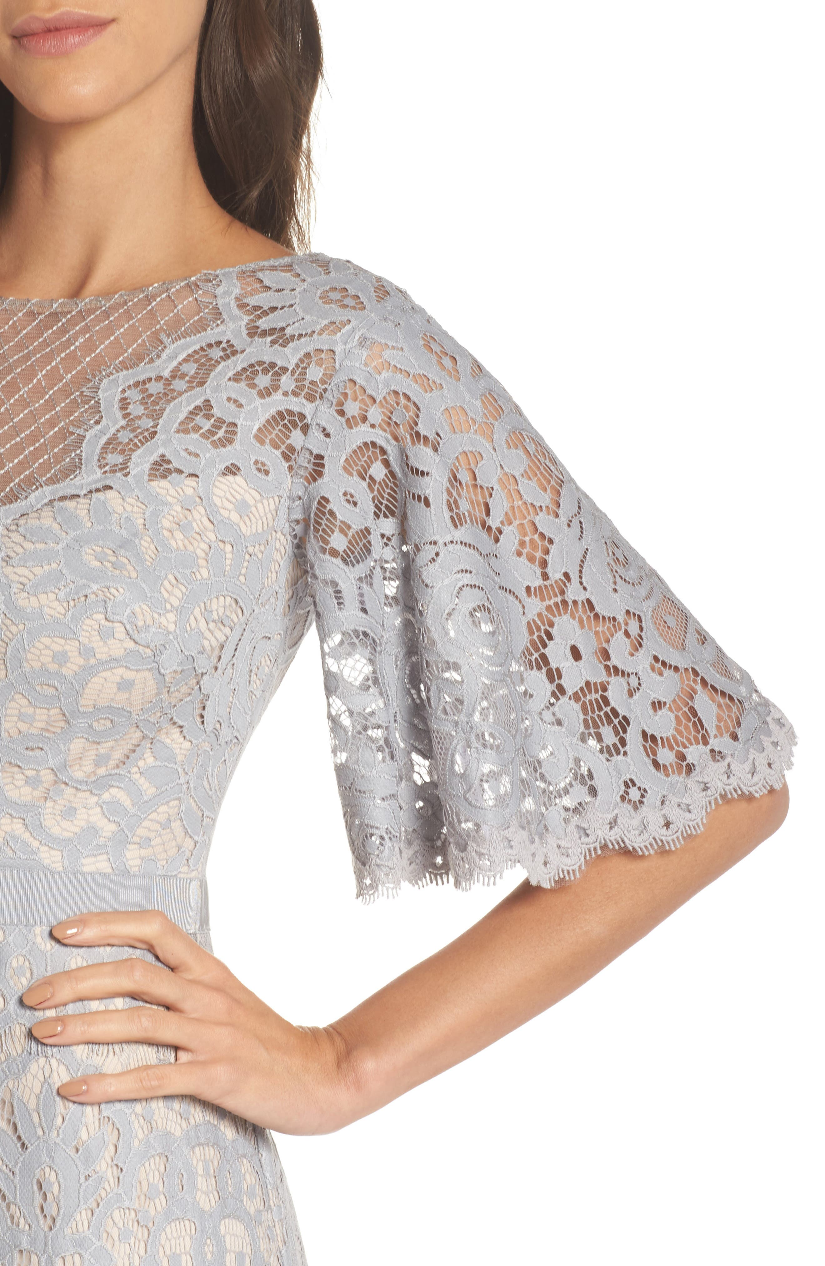 Malina Flutter Sleeve Lace Gown,                             Alternate thumbnail 4, color,                             020