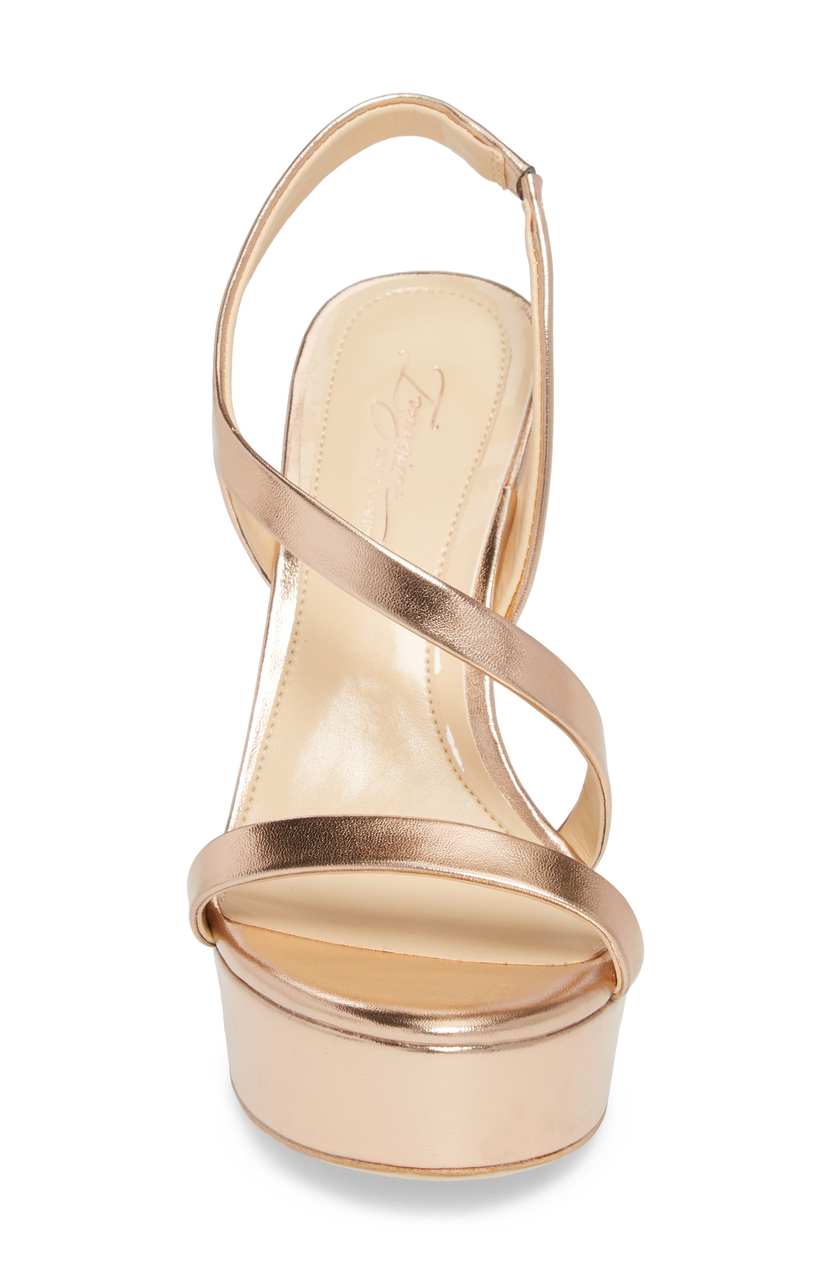 Piera Platform Sandal,                             Alternate thumbnail 4, color,                             ROSE GOLD LEATHER