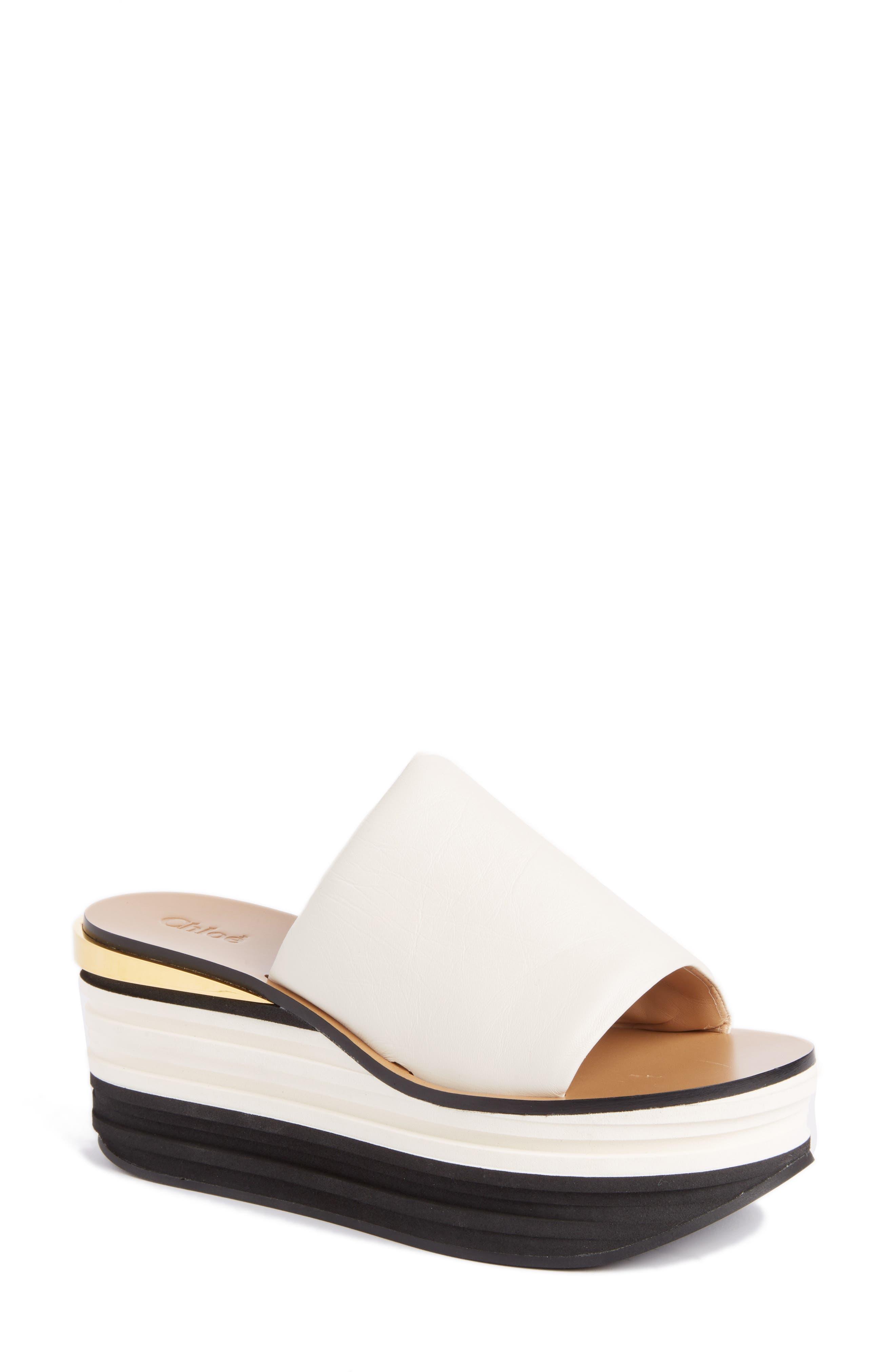 Camille Platform Sandal,                         Main,                         color, WHITE