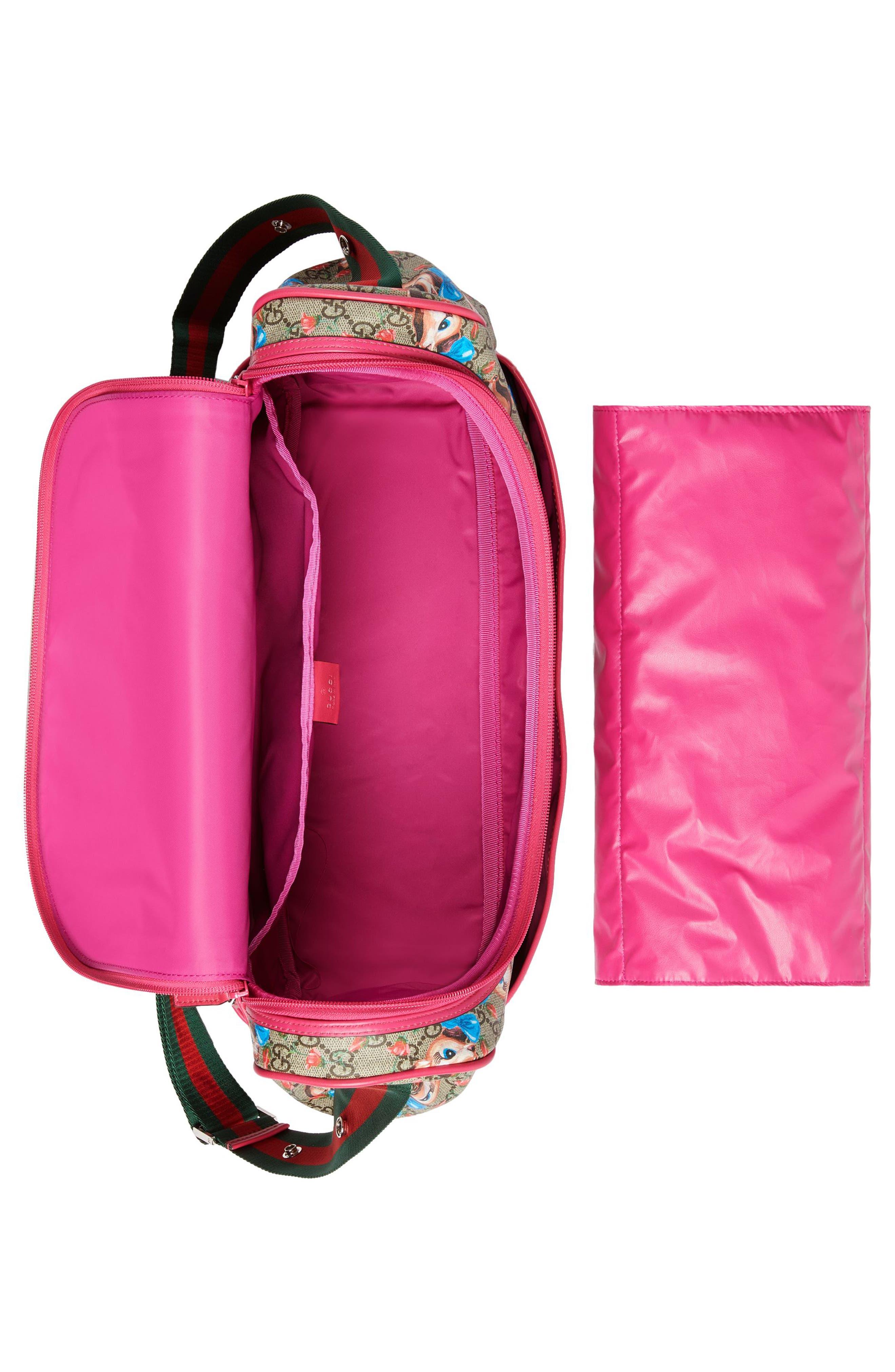 Deer & Rose Bud GG Supreme Canvas Diaper Bag,                             Alternate thumbnail 3, color,                             250