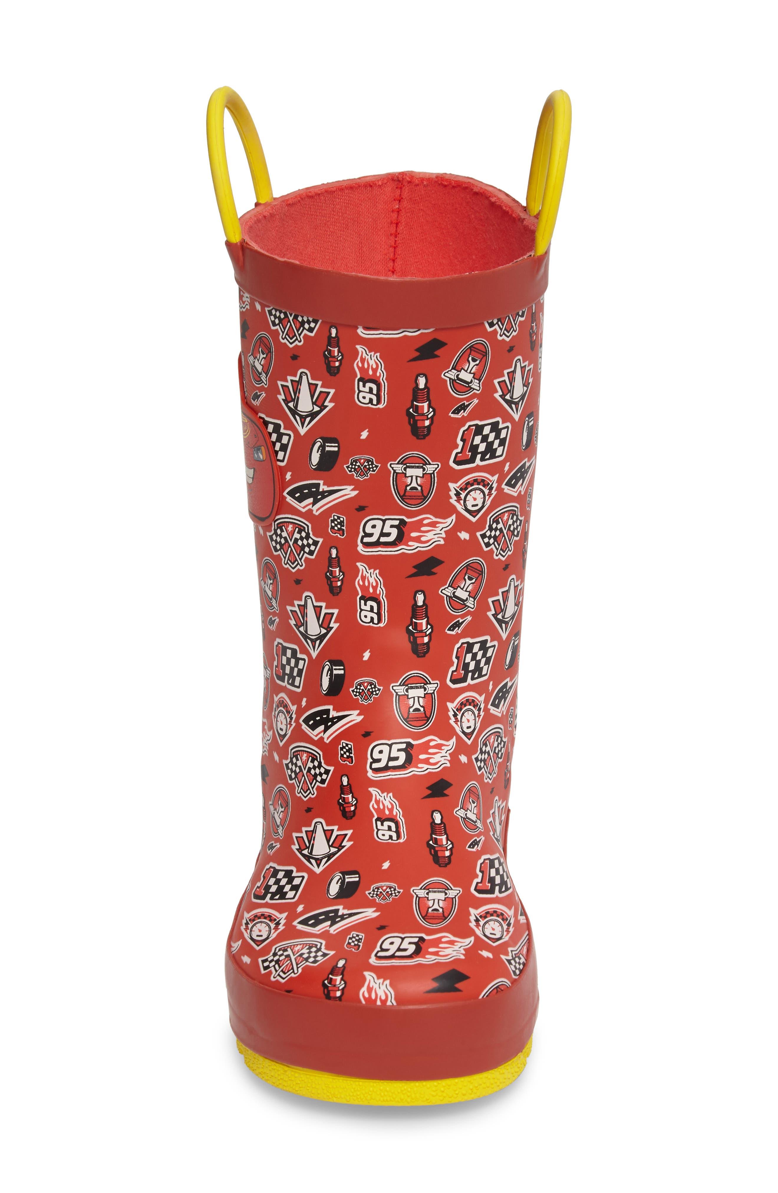 Cars<sup>®</sup> Lightning Fast Waterproof Rain Boot,                             Alternate thumbnail 4, color,                             610
