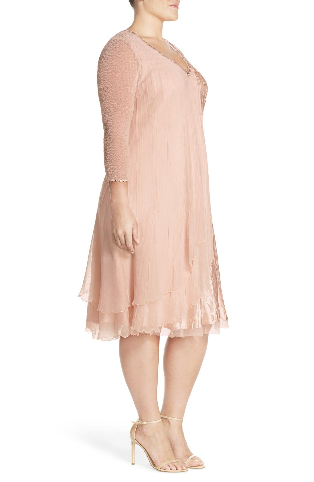 V-Neck Tiered Chiffon & Charmeuse A-Line Dress,                             Alternate thumbnail 2, color,                             658