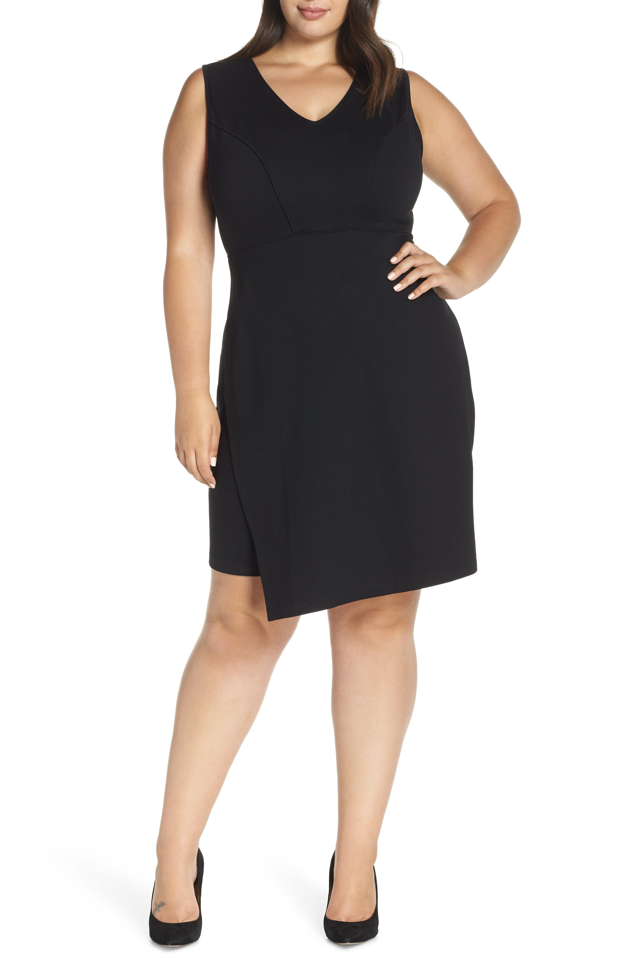 Aliyah Wrap Skirt Body-Con Dress, Main, color, BLACK