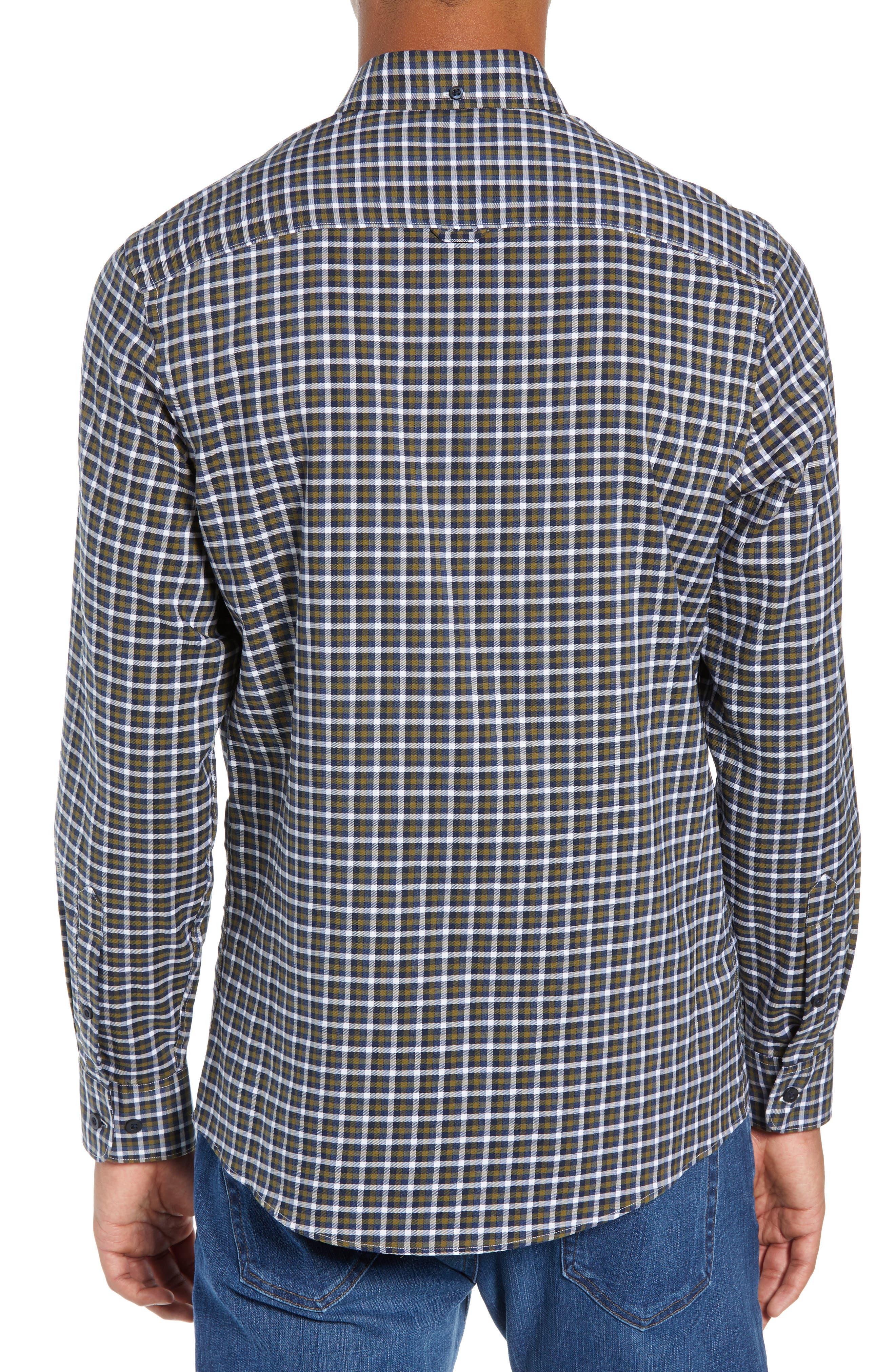Tech-Smart Slim Fit Check Sport Shirt,                             Alternate thumbnail 3, color,                             NAVY NIGHT OLIVE CHECK