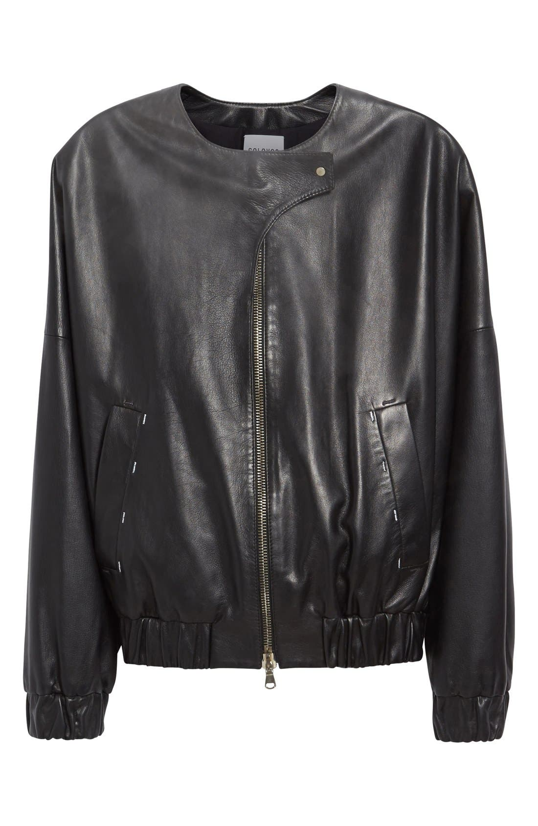 Leather Bomber Jacket,                             Alternate thumbnail 6, color,                             001
