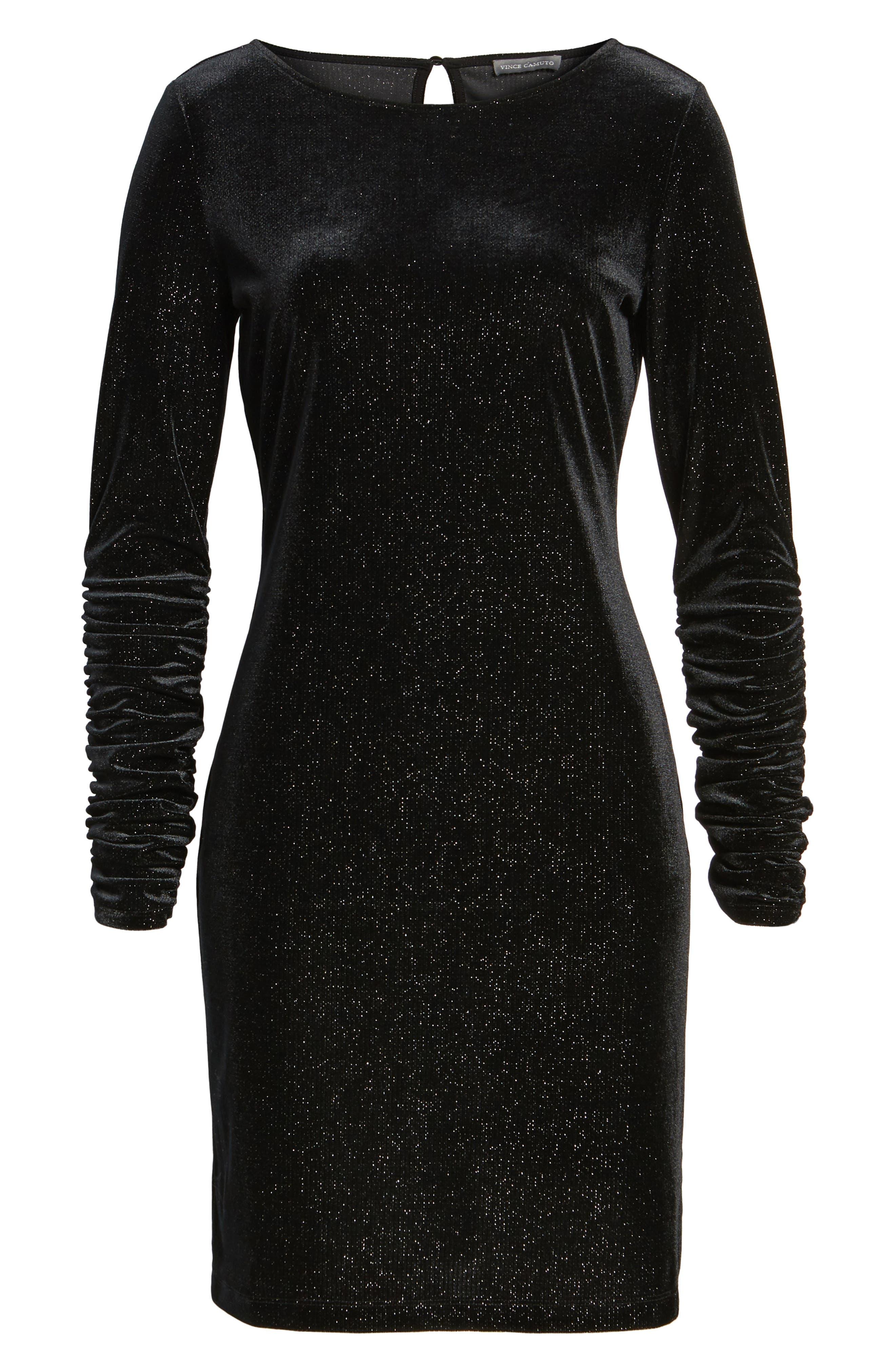Ruched Sleeve Sparkle Velvet Dress,                             Alternate thumbnail 8, color,                             006