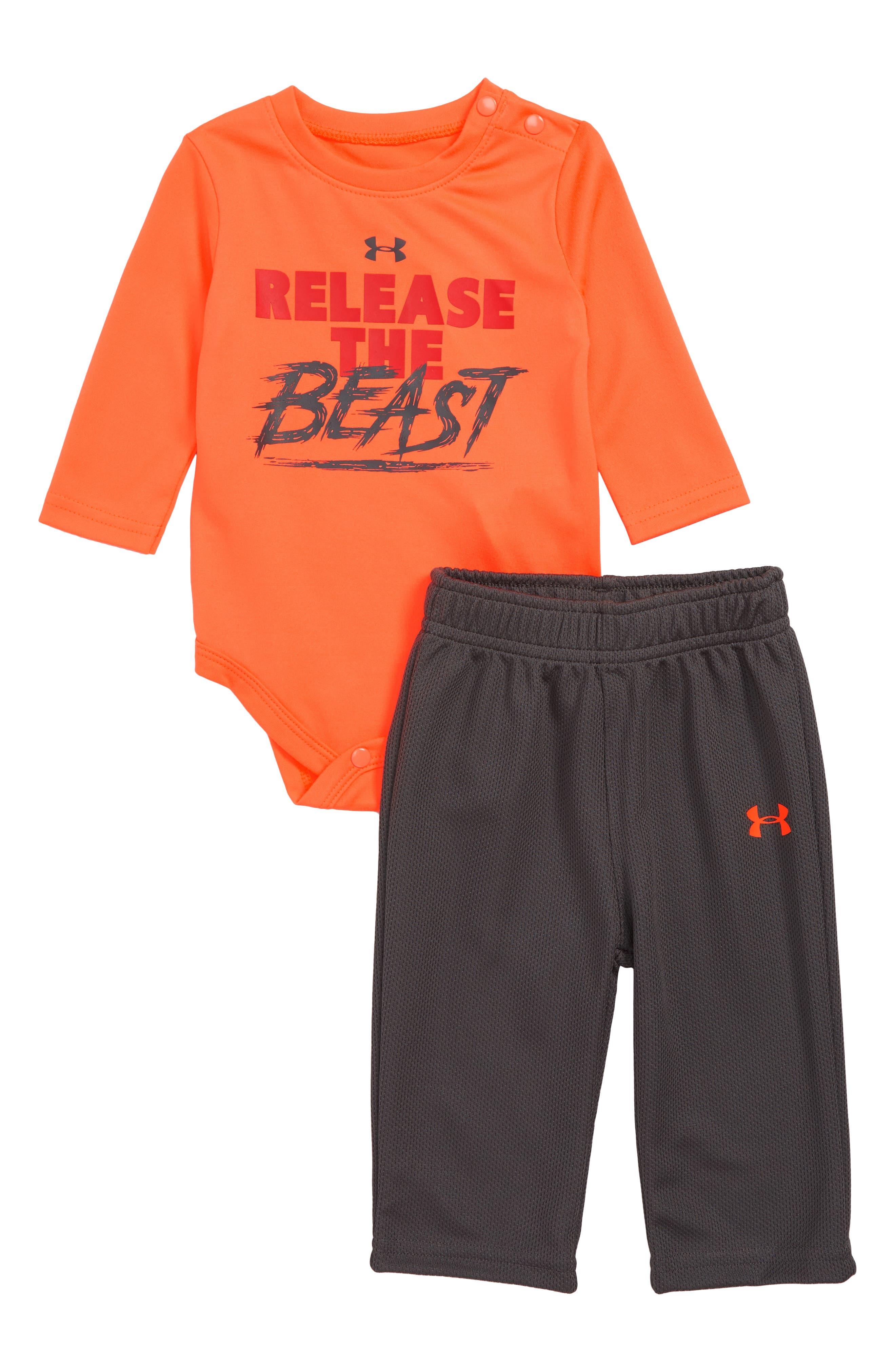 Release the Beast Bodysuit & Leggings Set,                             Main thumbnail 1, color,                             MAGMA ORANGE
