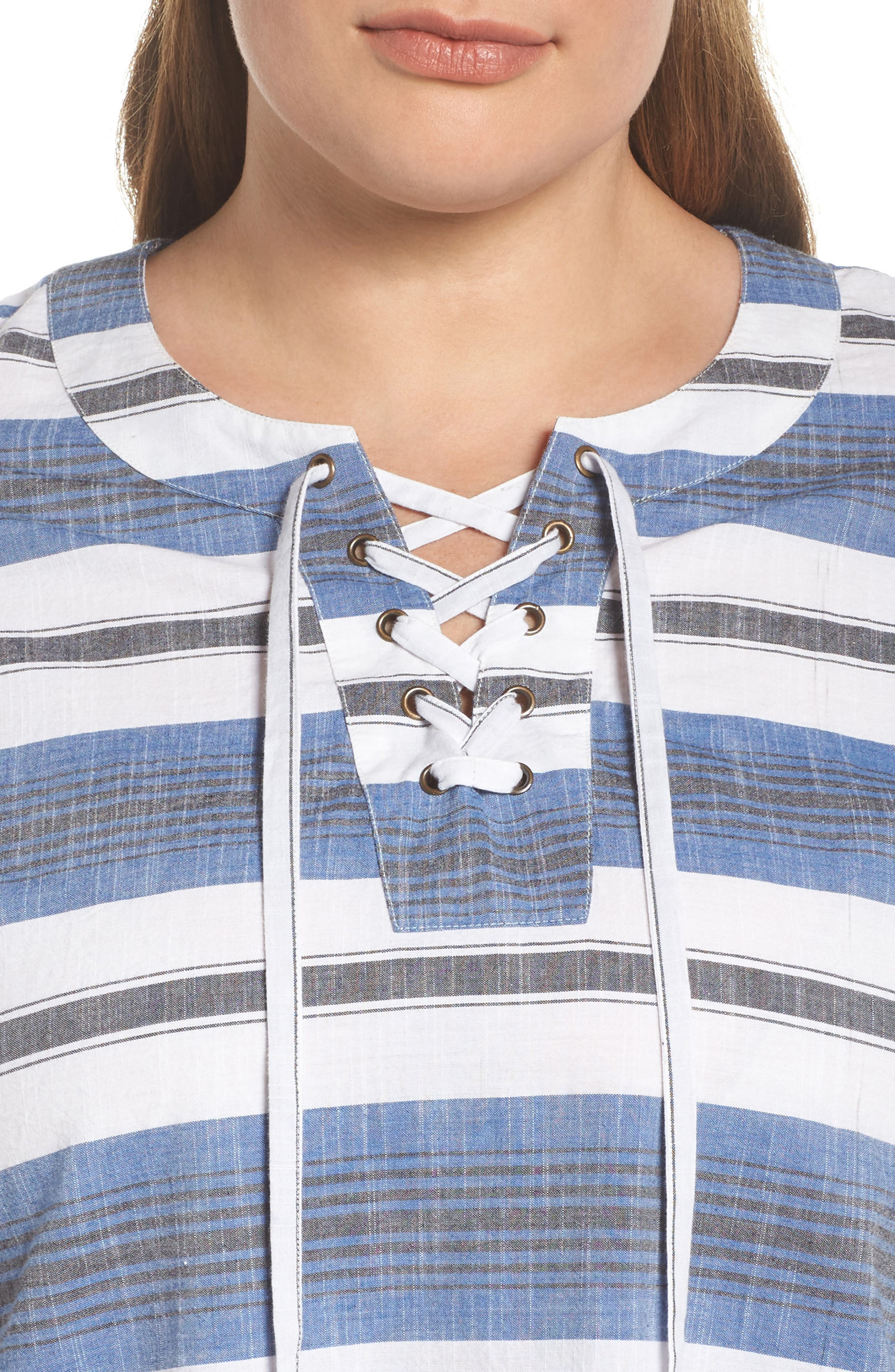 Lace-Up Stripe Dress,                             Alternate thumbnail 4, color,                             460