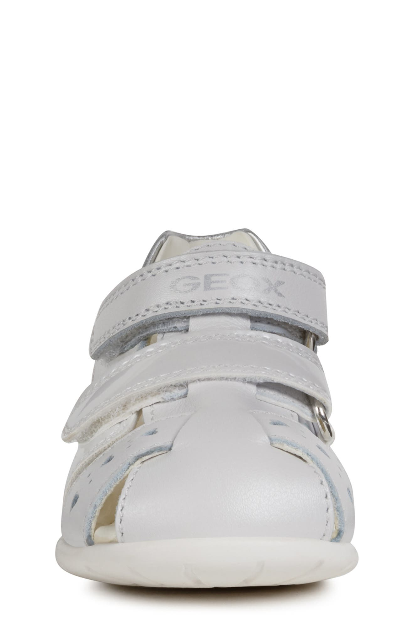 GEOX,                             Kaytan 52 Shimmery Sandal,                             Alternate thumbnail 4, color,                             WHITE/ SILVER