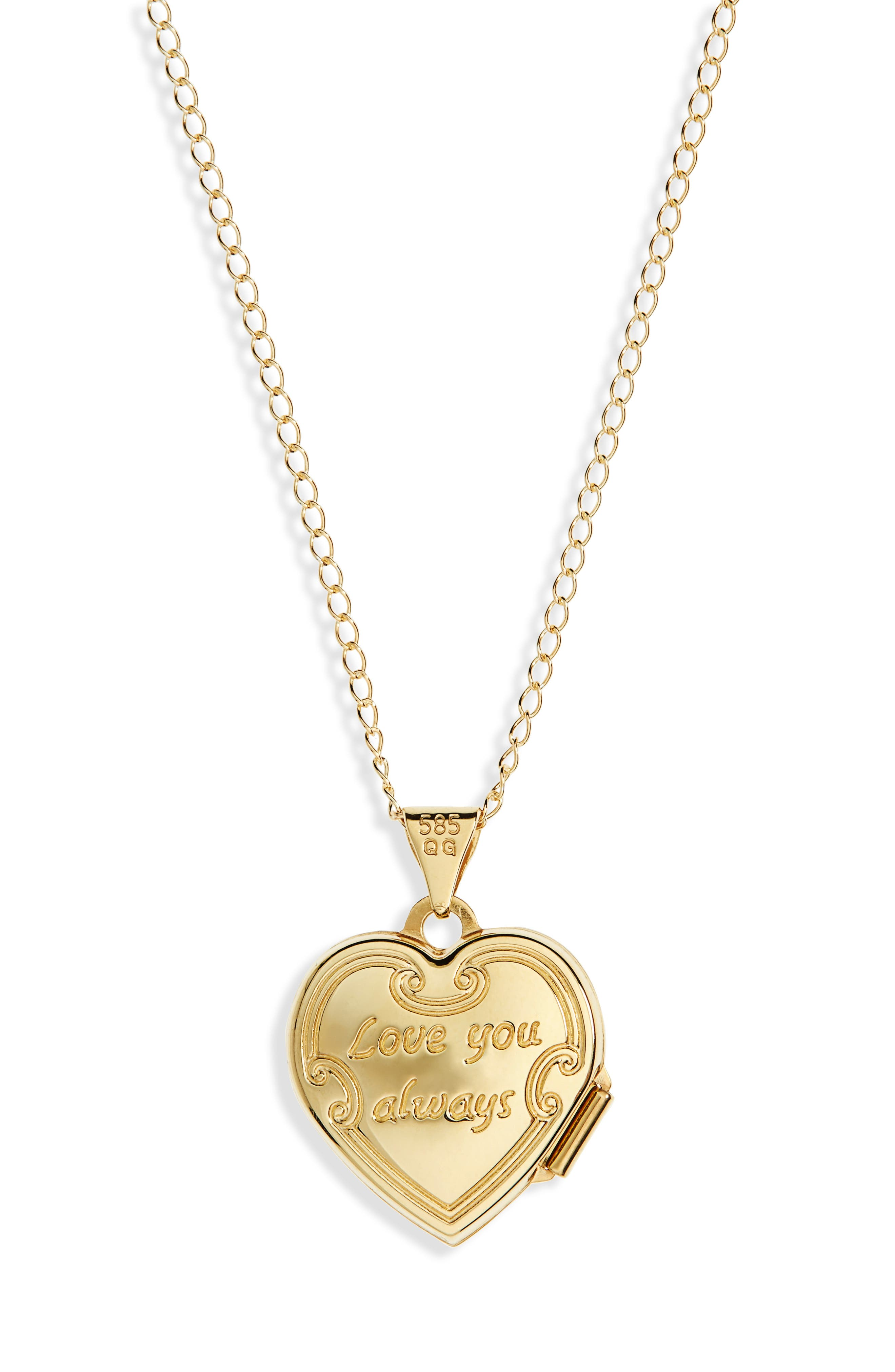 Kardee Kids 14k Gold Heart Locket Pendant Necklace,                             Alternate thumbnail 2, color,                             GOLD