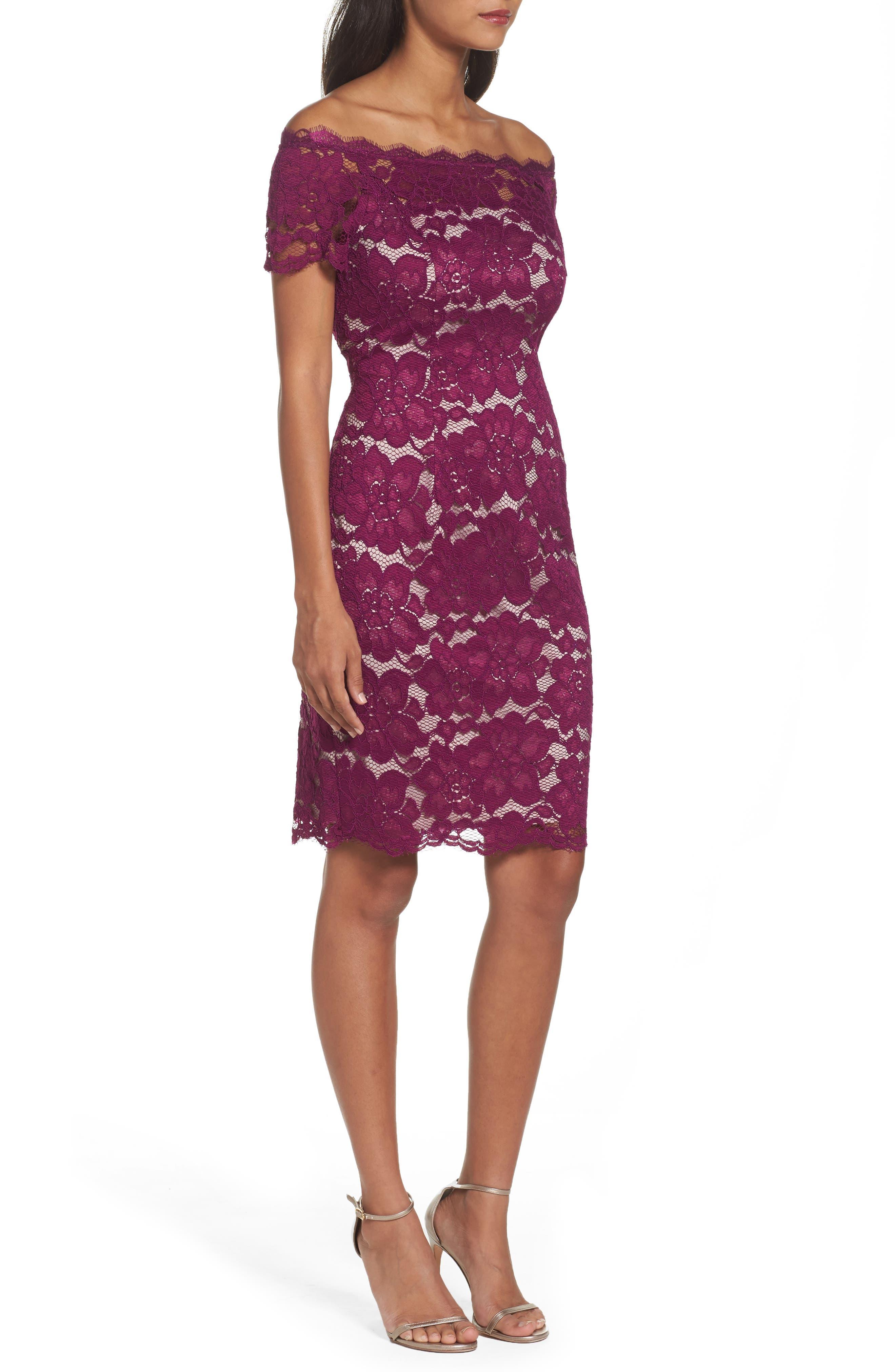 Off the Shoulder Lace Sheath Dress,                             Alternate thumbnail 16, color,