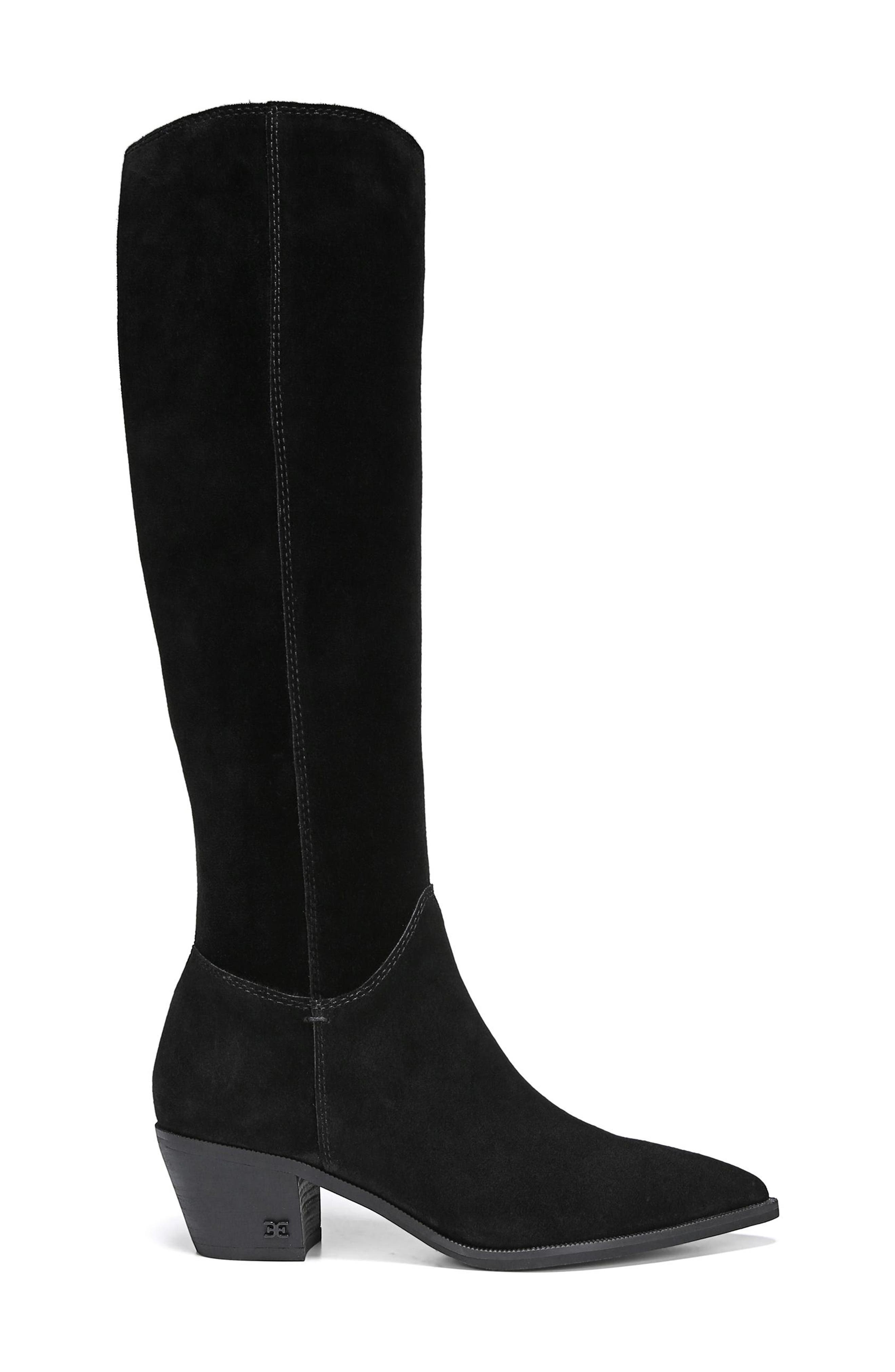 Rowena Knee High Boot,                             Alternate thumbnail 3, color,                             BLACK SUEDE