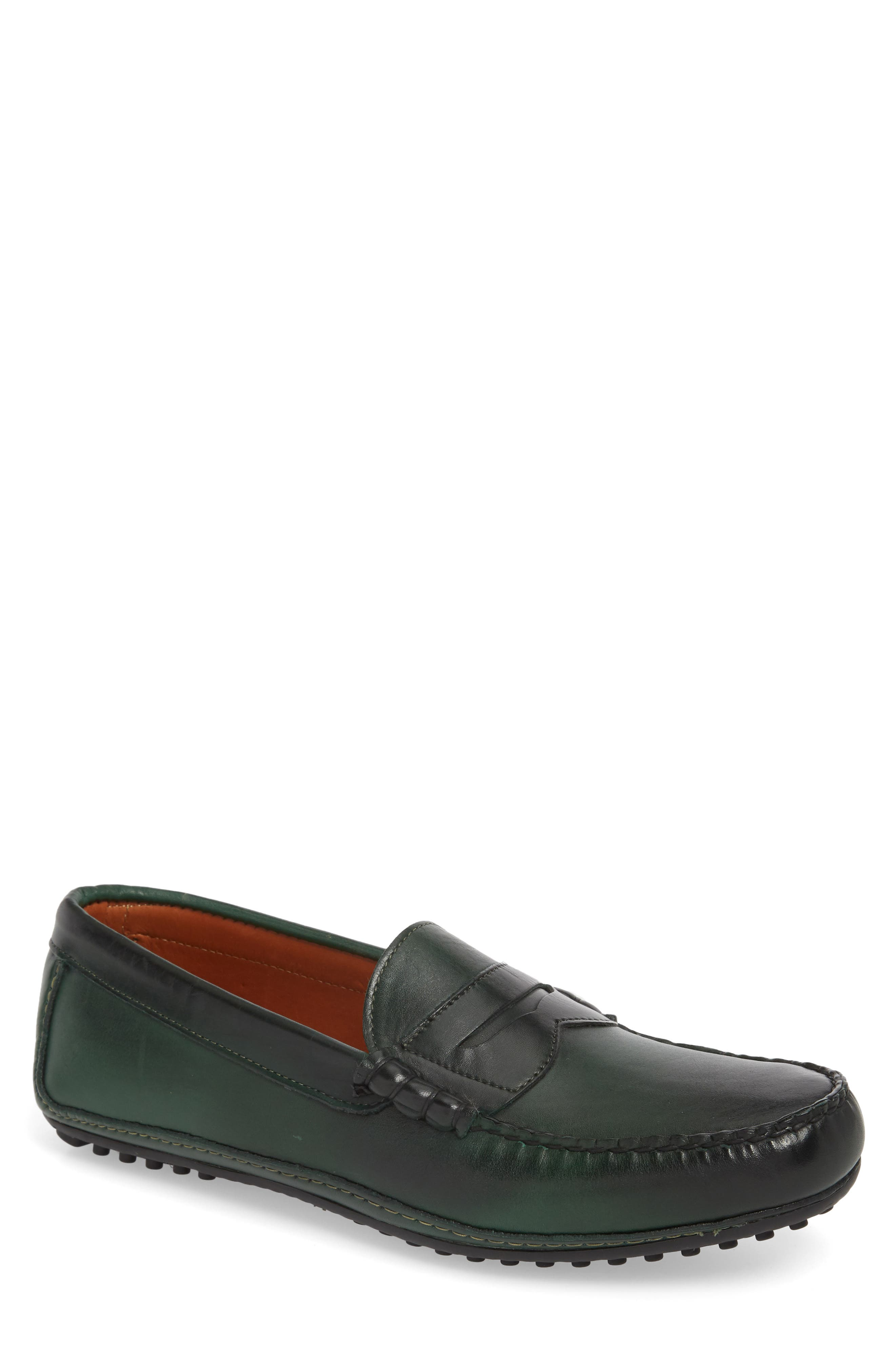 Siesta Key Penny Loafer,                             Main thumbnail 1, color,                             GREEN LEATHER