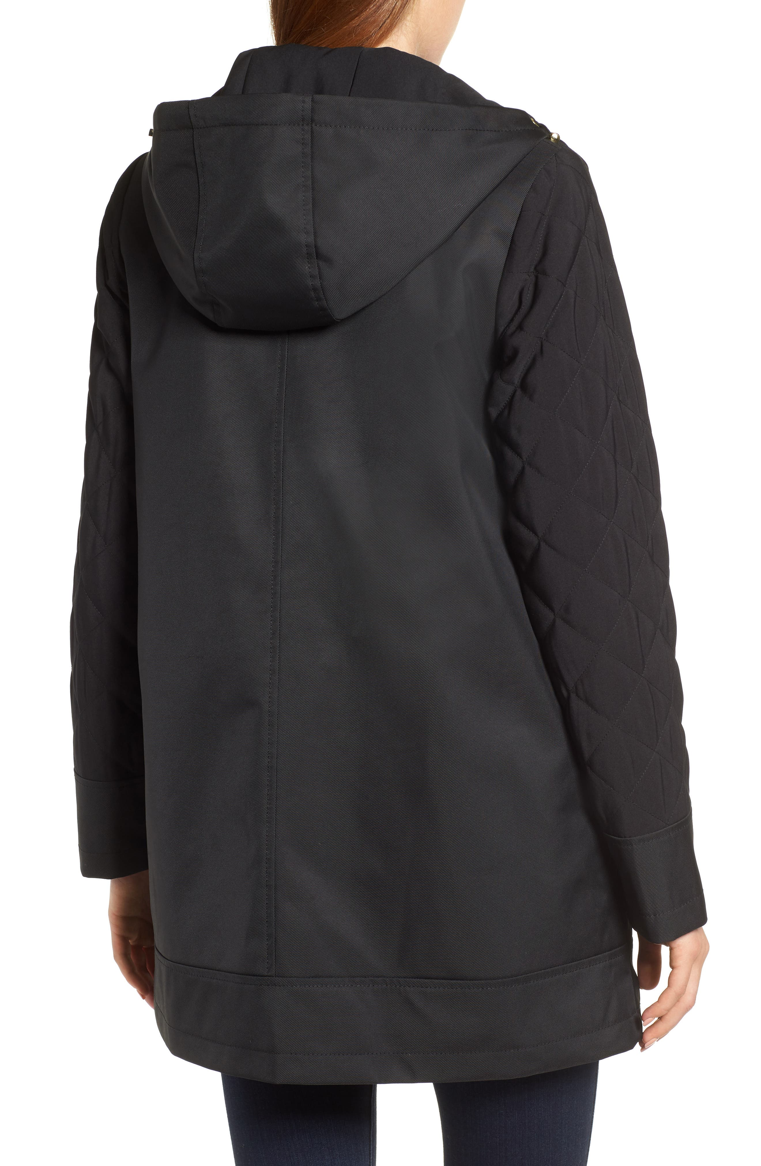 Hallie Quilted Sleeve Twill Parka,                             Alternate thumbnail 2, color,                             BLACK