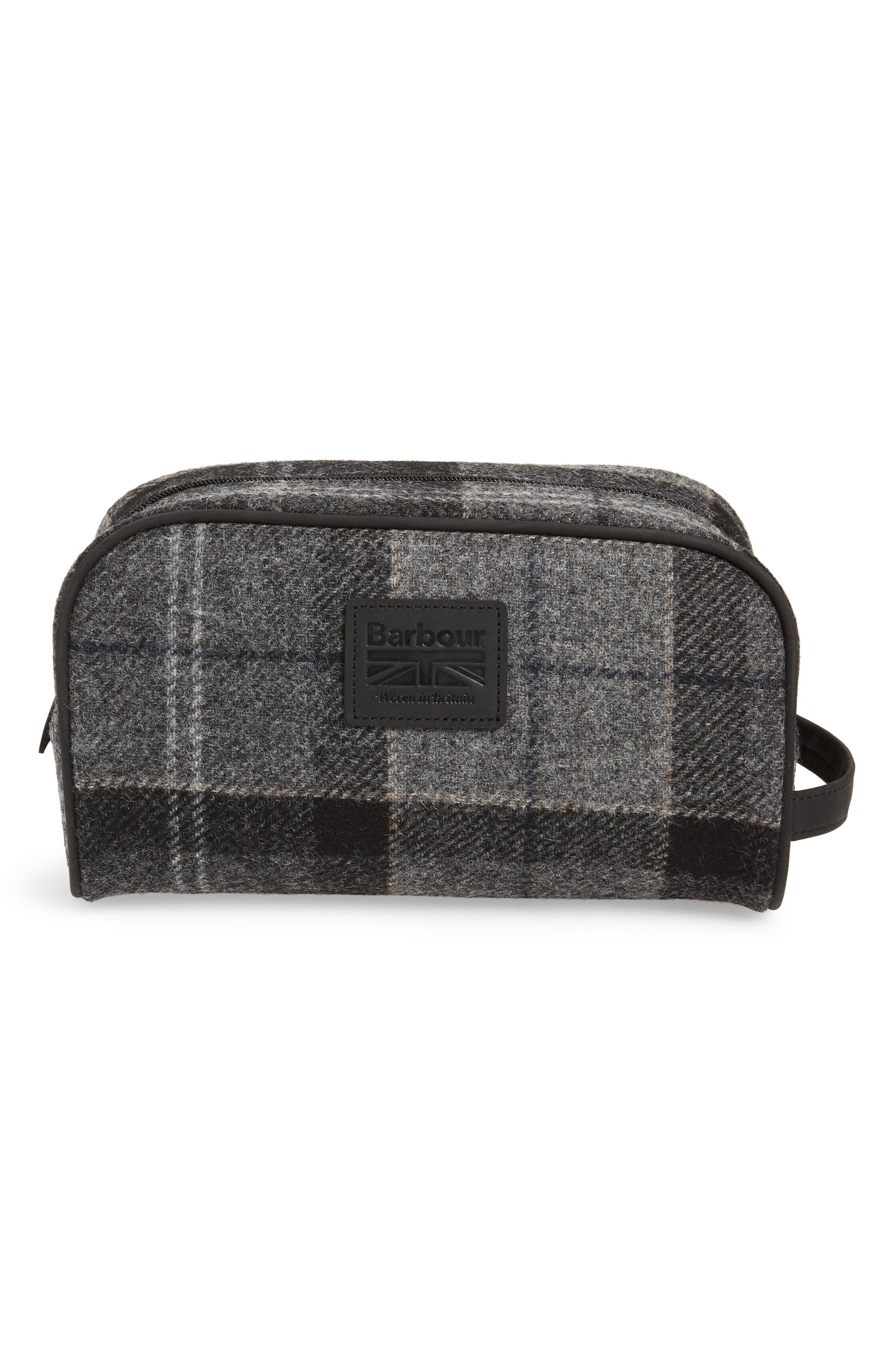 Shadow Tartan Wool Travel Kit,                             Alternate thumbnail 2, color,                             BLACK/ GREY TARTAN
