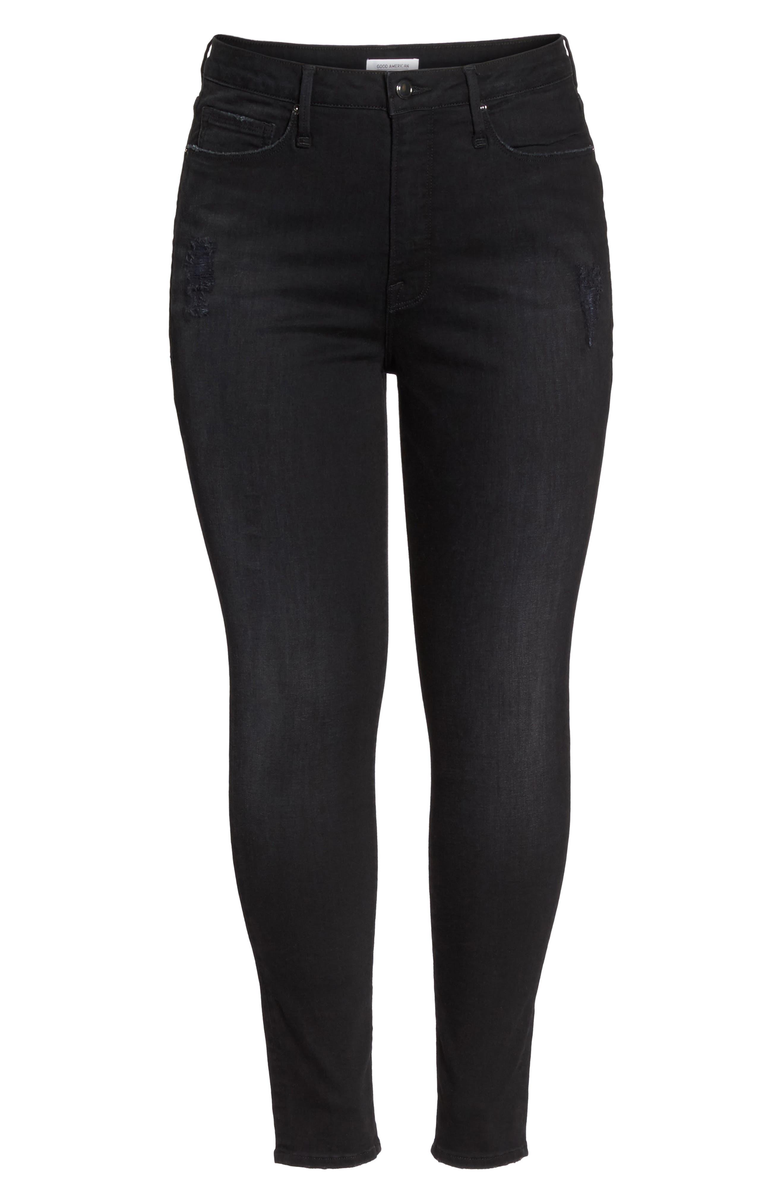 Good Waist Grommet Detail Skinny Jeans,                             Alternate thumbnail 6, color,                             001