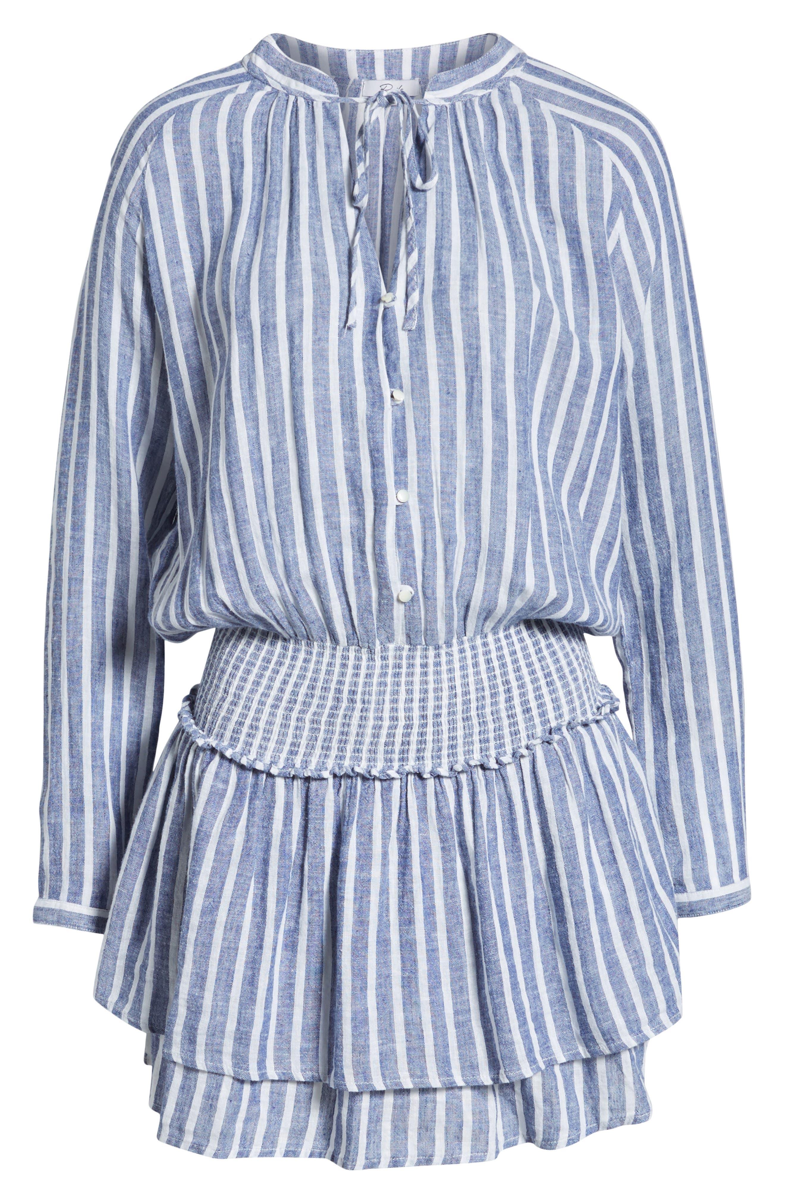 Jasmine Linen Blend Dress,                             Alternate thumbnail 7, color,                             PARISIAN BLUE
